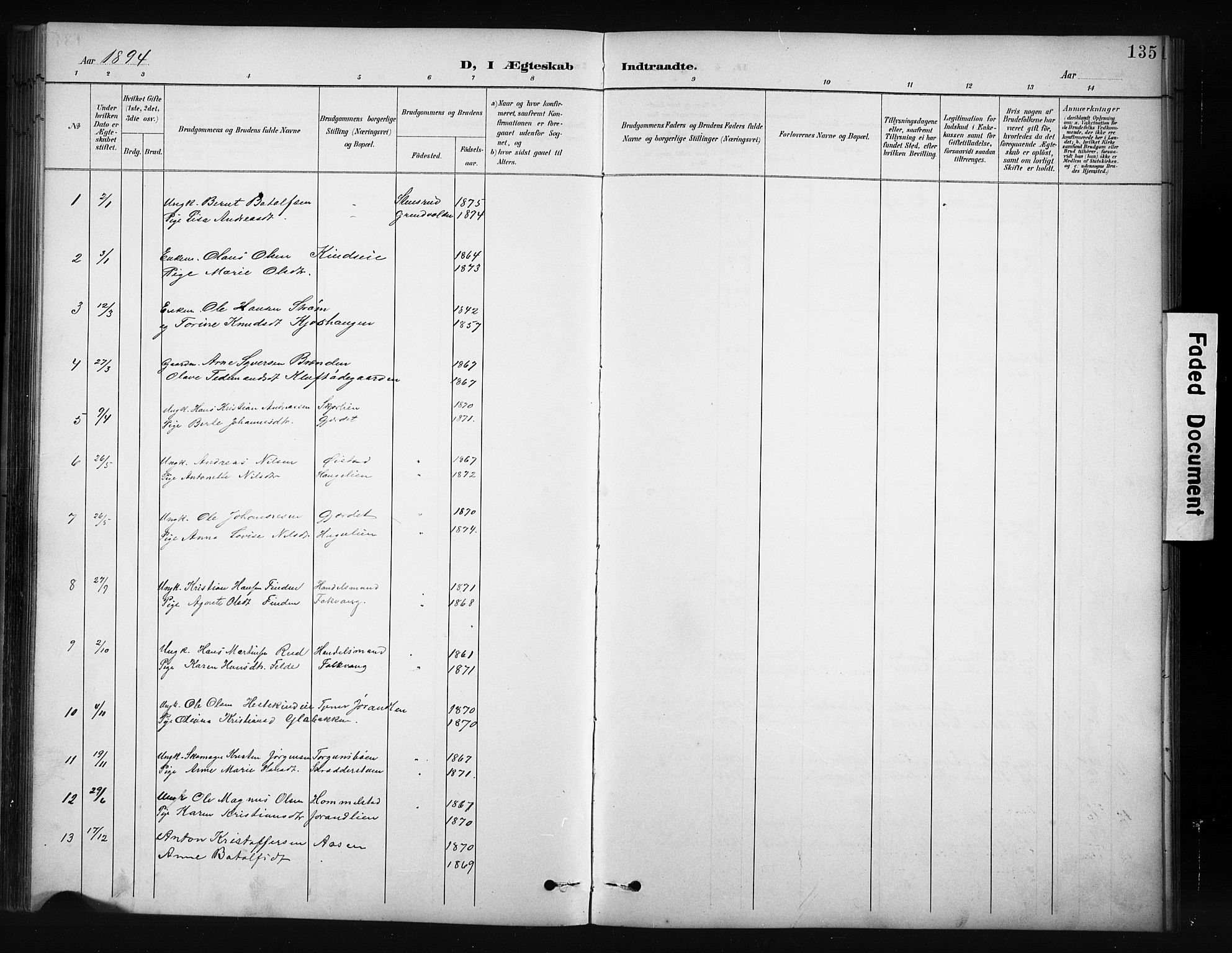 SAH, Nordre Land prestekontor, Klokkerbok nr. 12, 1891-1909, s. 135