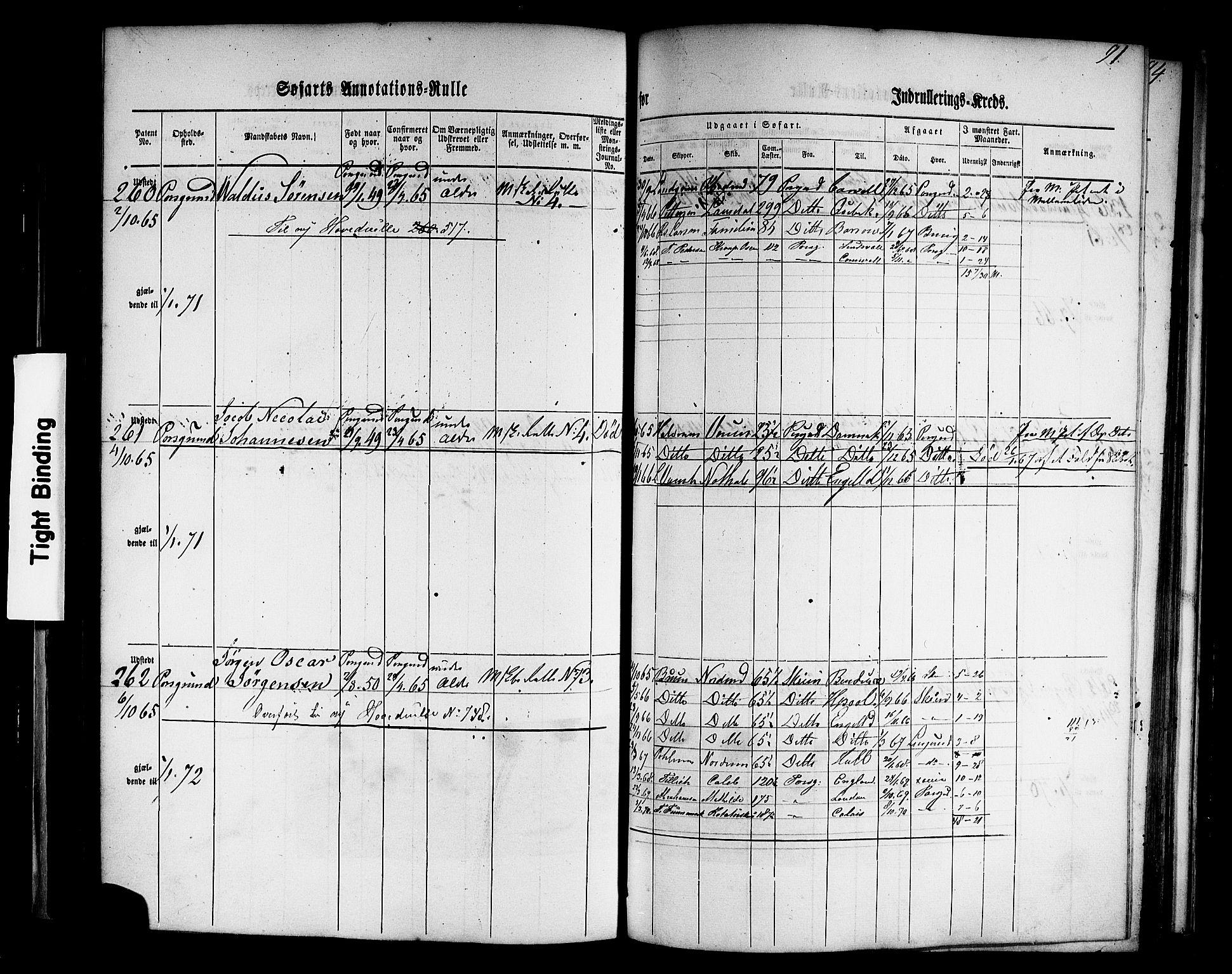 SAKO, Porsgrunn innrulleringskontor, F/Fb/L0001: Annotasjonsrulle, 1860-1868, s. 120