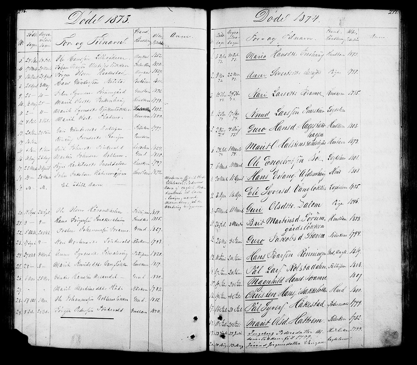SAH, Lesja prestekontor, Klokkerbok nr. 5, 1850-1894, s. 276-277