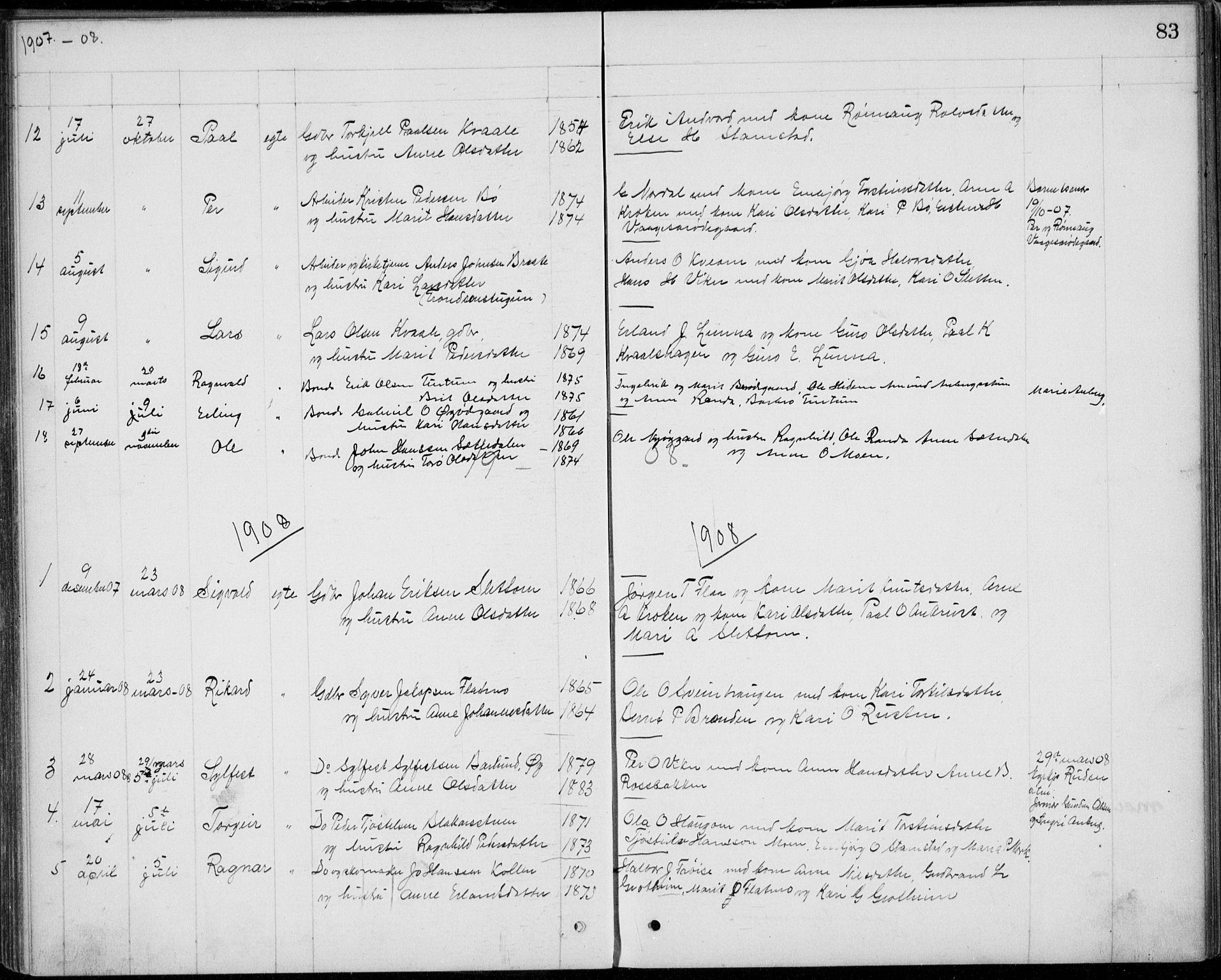 SAH, Lom prestekontor, L/L0013: Klokkerbok nr. 13, 1874-1938, s. 83