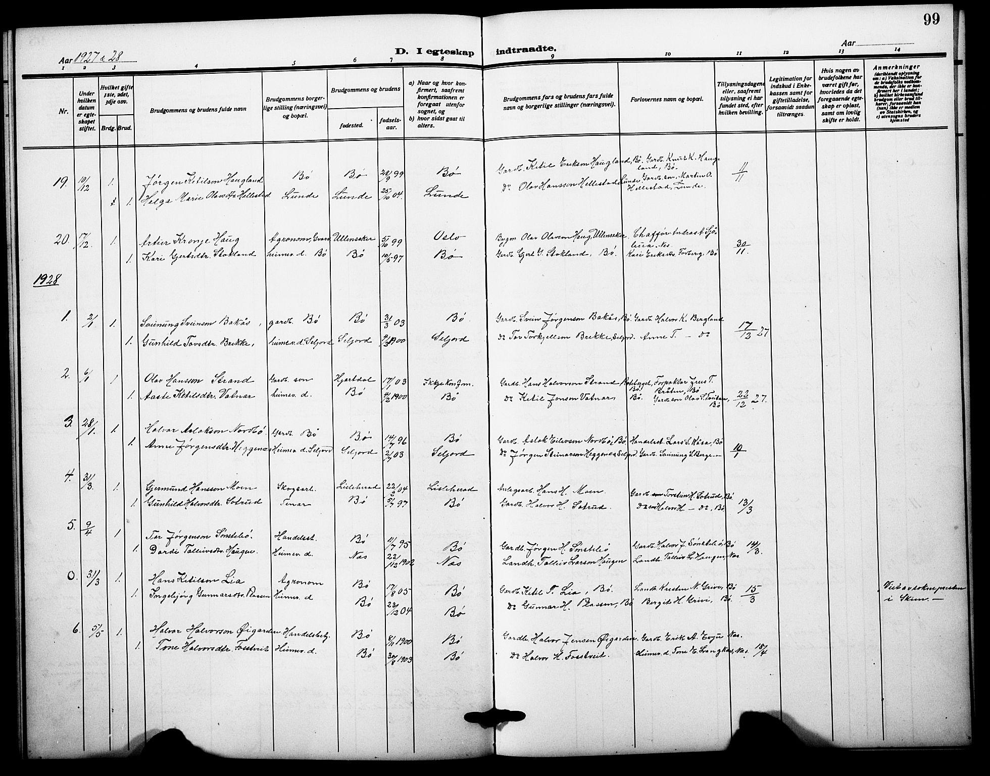 SAKO, Bø kirkebøker, G/Ga/L0008: Klokkerbok nr. 8, 1920-1930, s. 99
