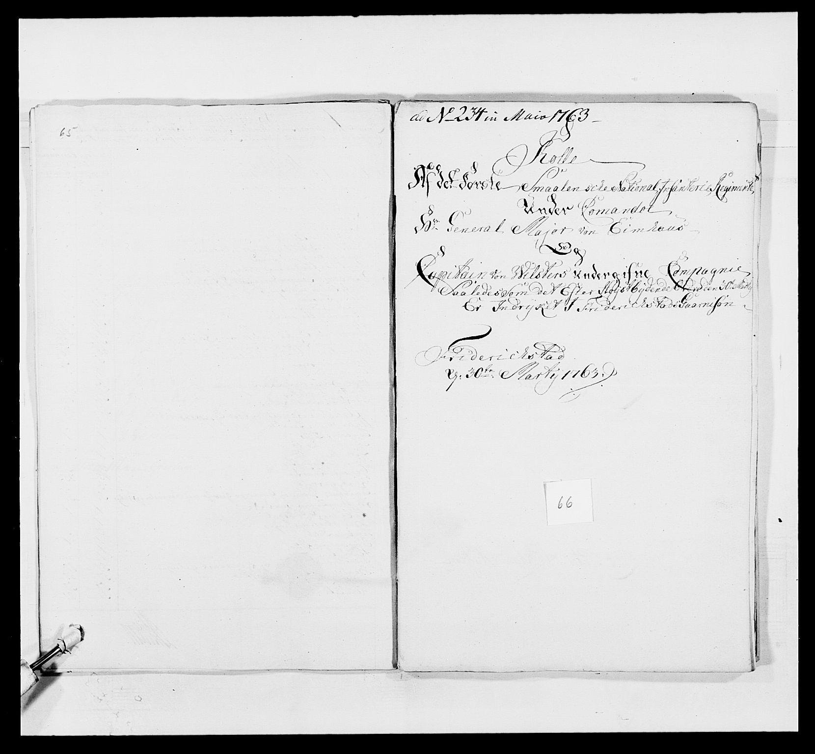 RA, Kommanderende general (KG I) med Det norske krigsdirektorium, E/Ea/L0495: 1. Smålenske regiment, 1732-1763, s. 828
