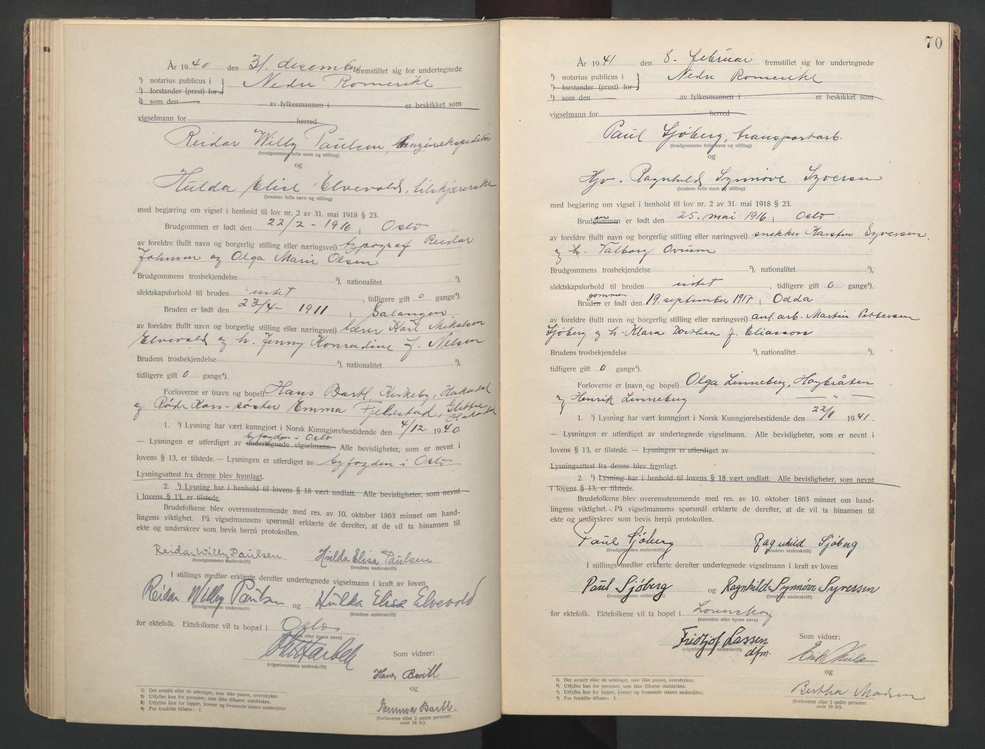 SAO, Nedre Romerike sorenskriveri, L/Lb/L0002: Vigselsbok - borgerlige vielser, 1935-1942, s. 70