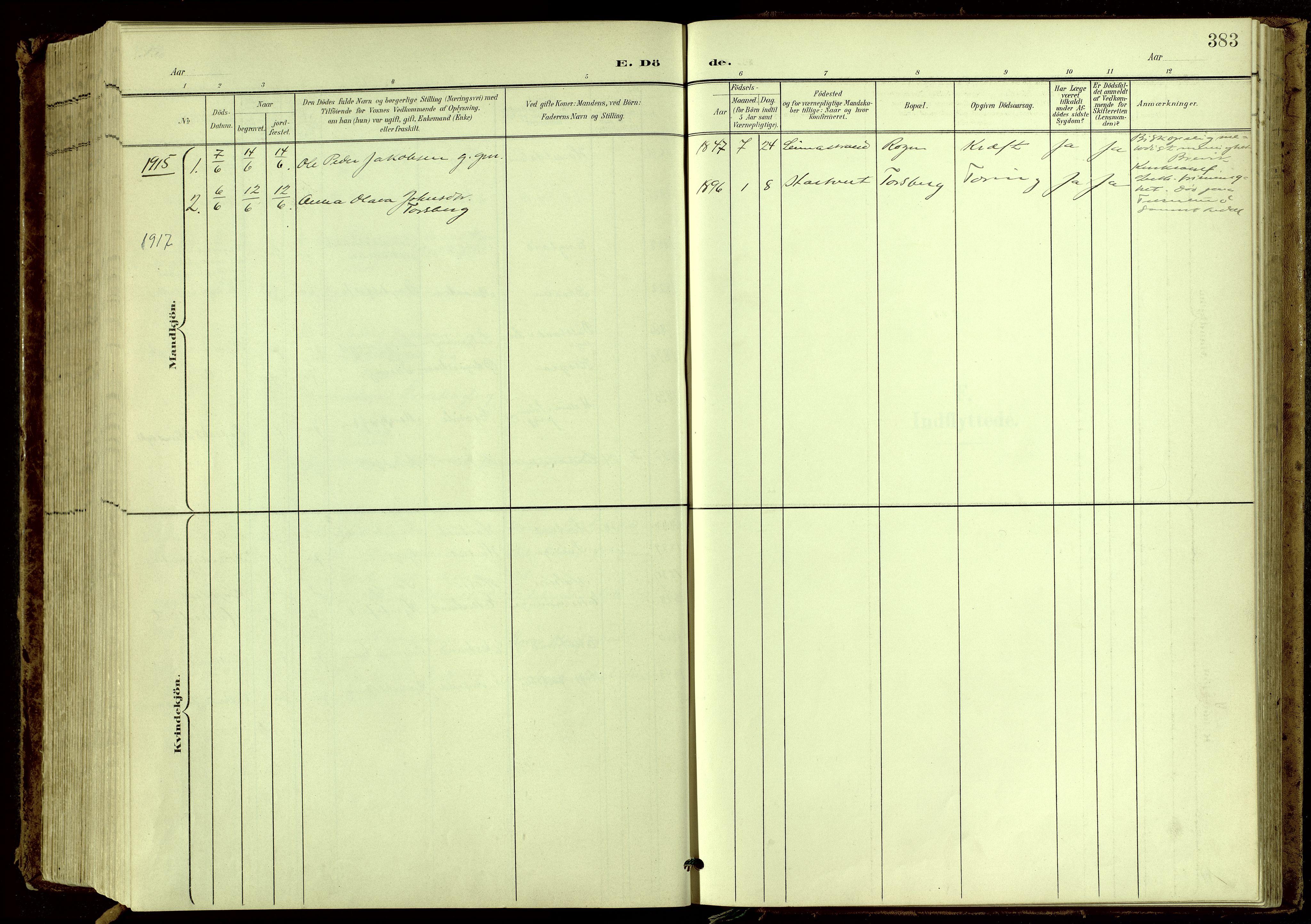 SAKO, Bamble kirkebøker, G/Ga/L0010: Klokkerbok nr. I 10, 1901-1919, s. 383