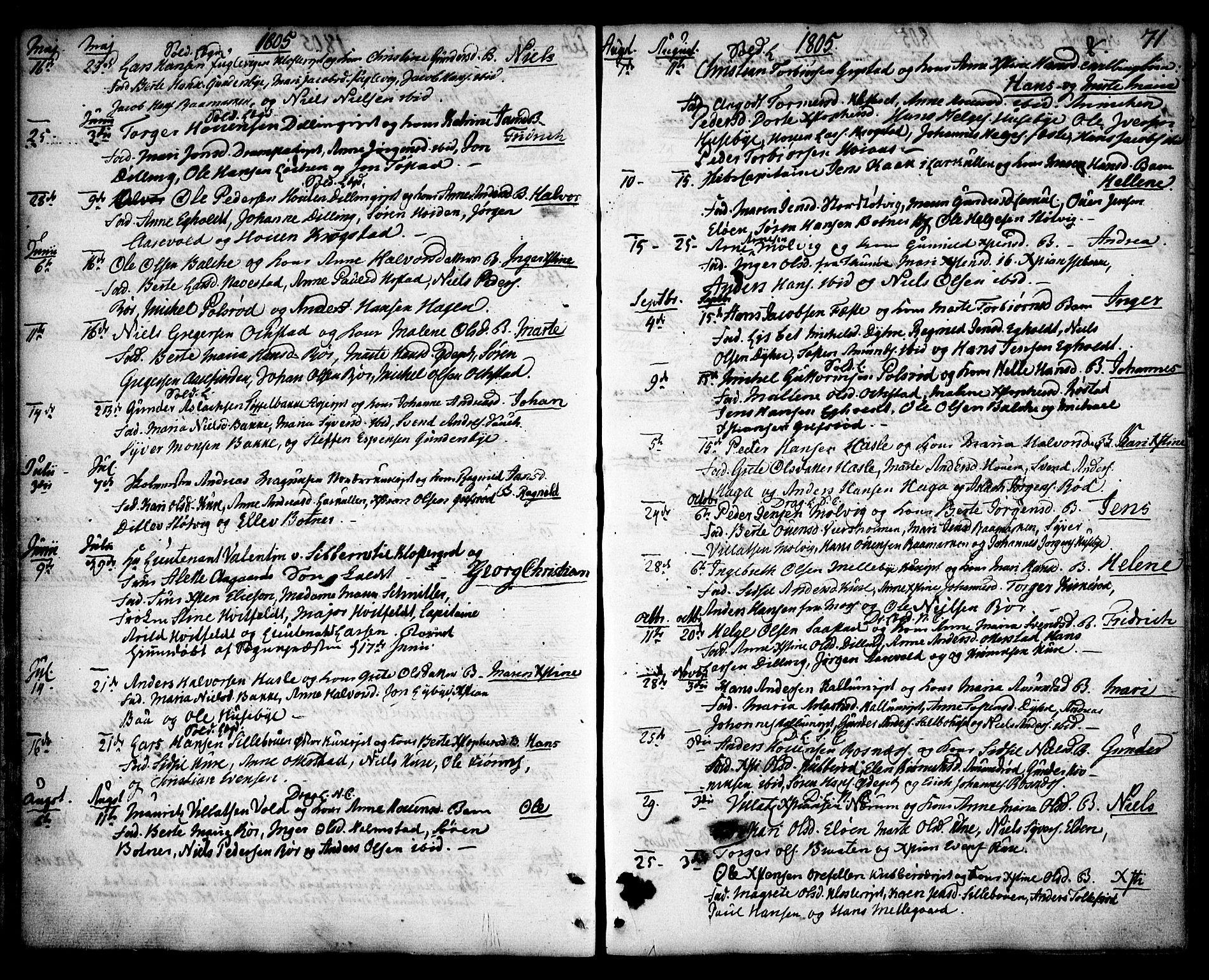 SAO, Rygge prestekontor Kirkebøker, F/Fa/L0002: Ministerialbok nr. 2, 1771-1814, s. 71