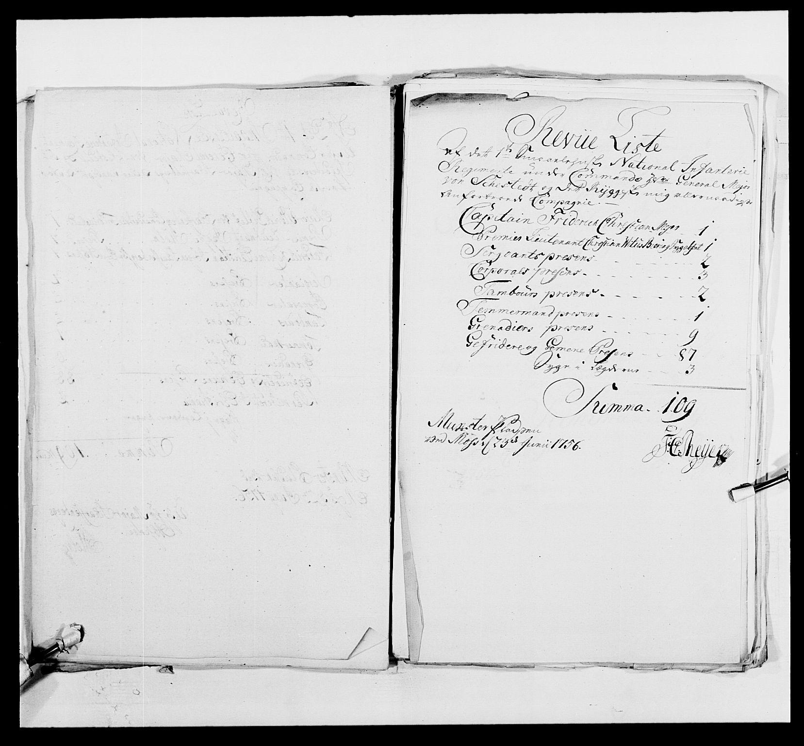 RA, Kommanderende general (KG I) med Det norske krigsdirektorium, E/Ea/L0495: 1. Smålenske regiment, 1732-1763, s. 608