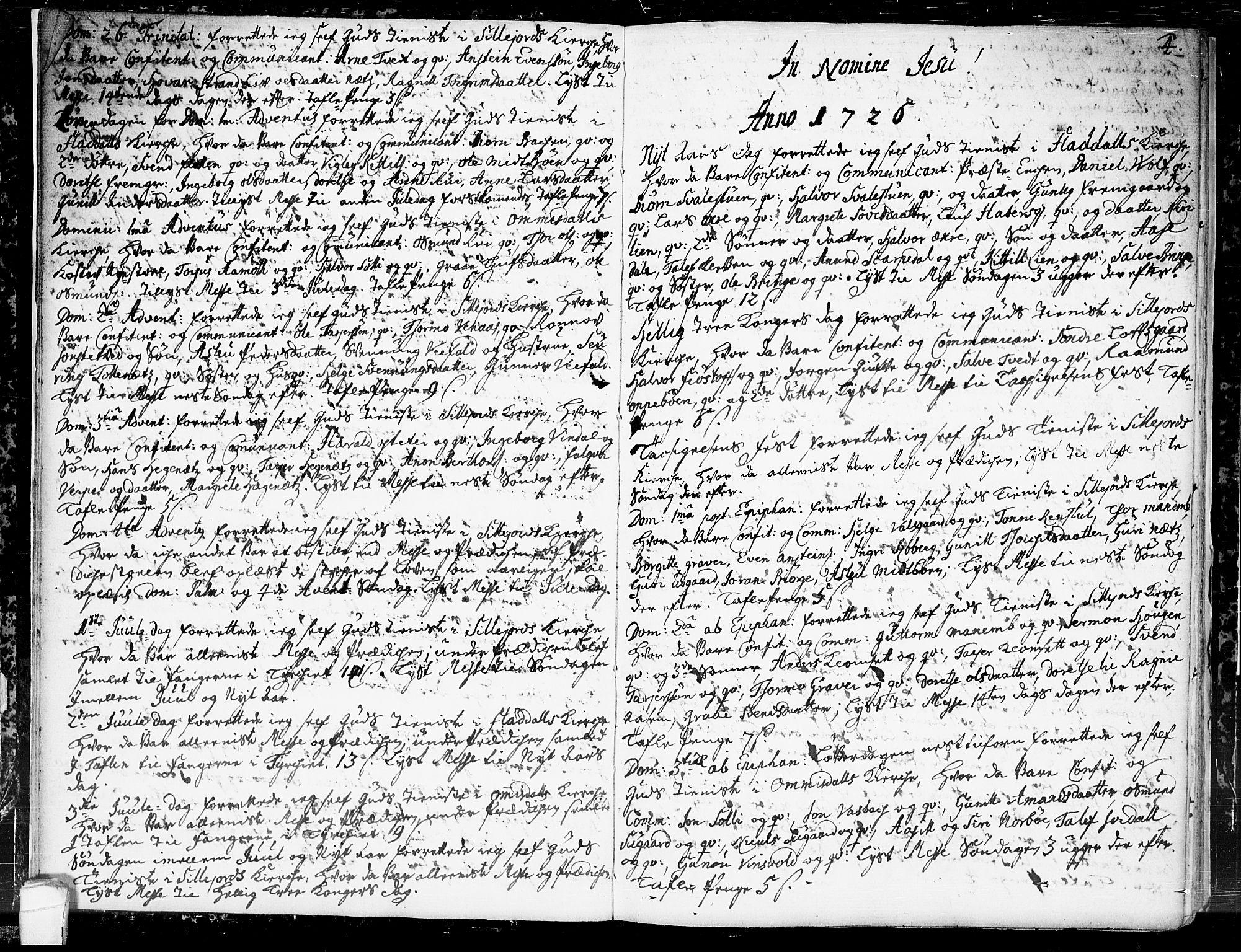 SAKO, Seljord kirkebøker, F/Fa/L0004: Ministerialbok nr. I 4, 1725-1736, s. 4