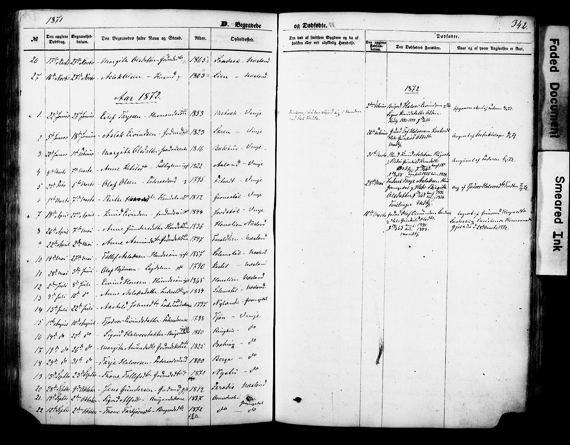 SAKO, Vinje kirkebøker, F/Fa/L0005: Ministerialbok nr. I 5, 1870-1886, s. 342