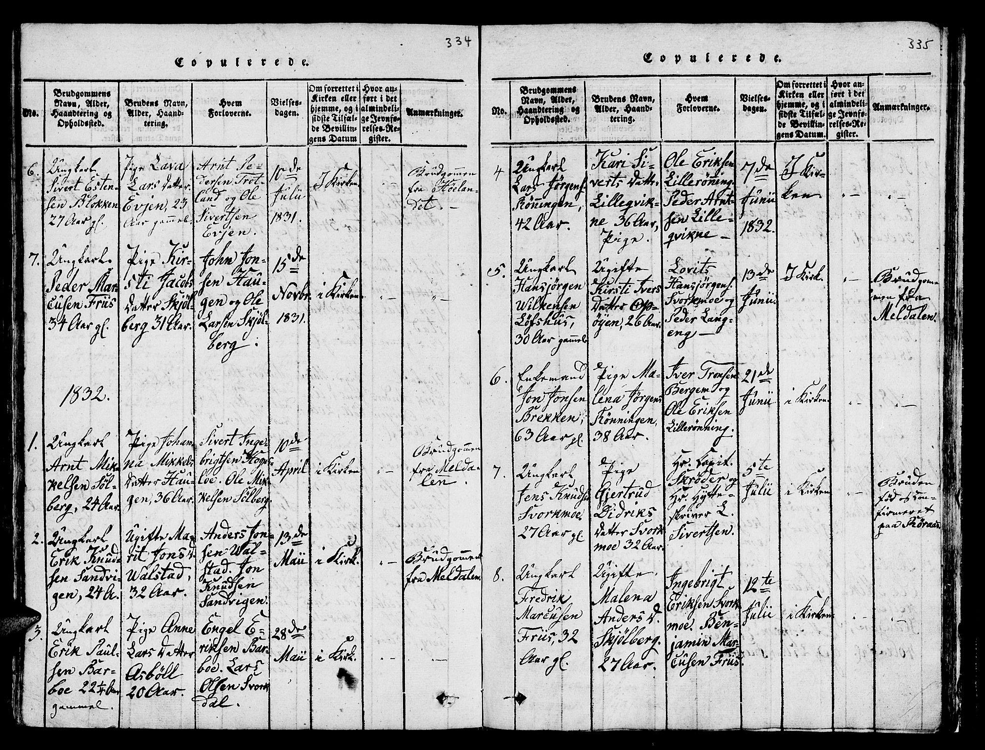 SAT, Ministerialprotokoller, klokkerbøker og fødselsregistre - Sør-Trøndelag, 671/L0842: Klokkerbok nr. 671C01, 1816-1867, s. 334-335
