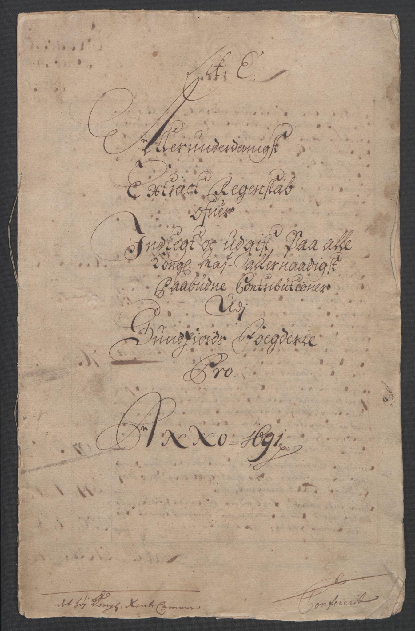 RA, Rentekammeret inntil 1814, Reviderte regnskaper, Fogderegnskap, R53/L3420: Fogderegnskap Sunn- og Nordfjord, 1691-1692, s. 5