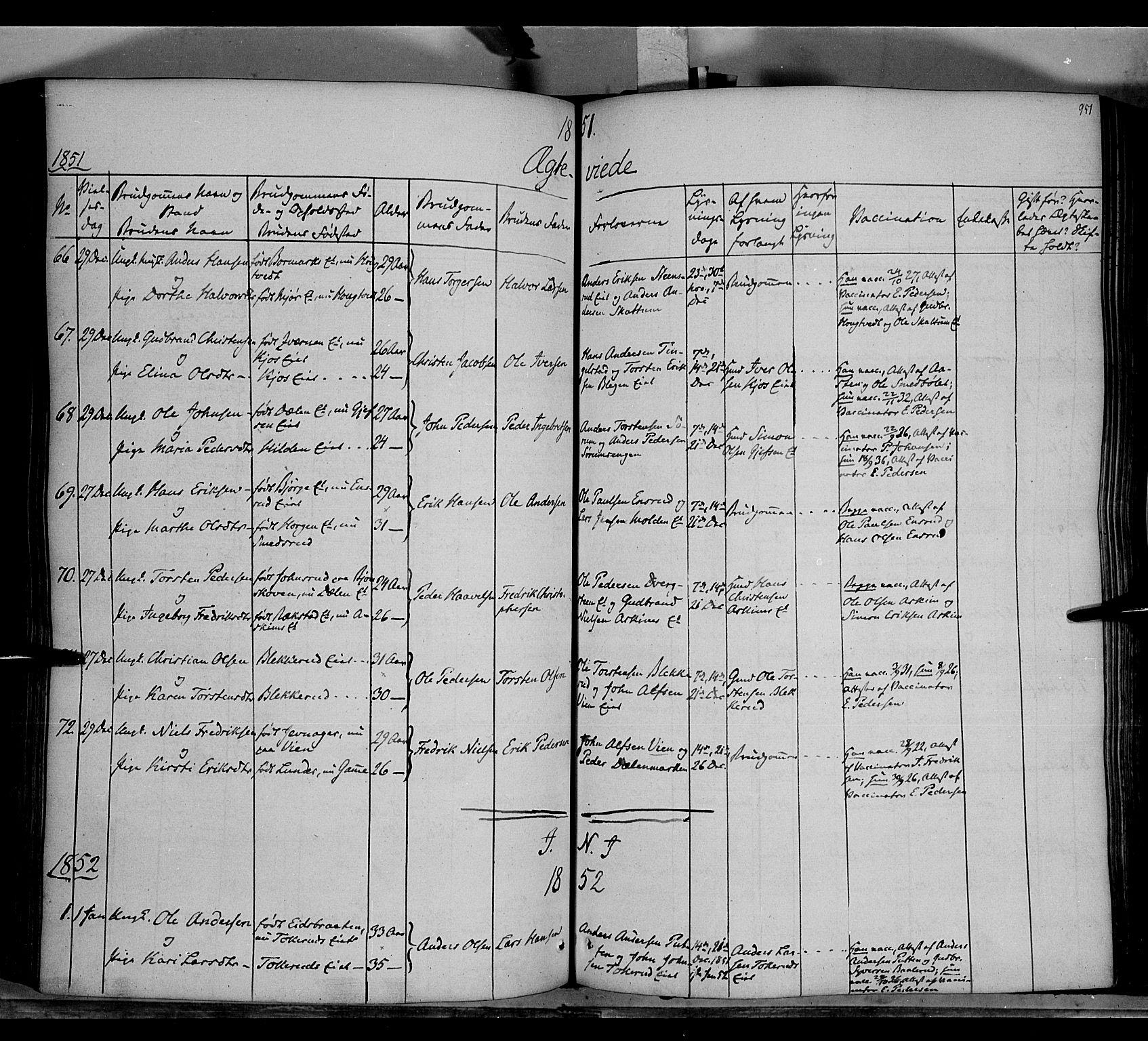 SAH, Gran prestekontor, Ministerialbok nr. 11, 1842-1856, s. 950-951