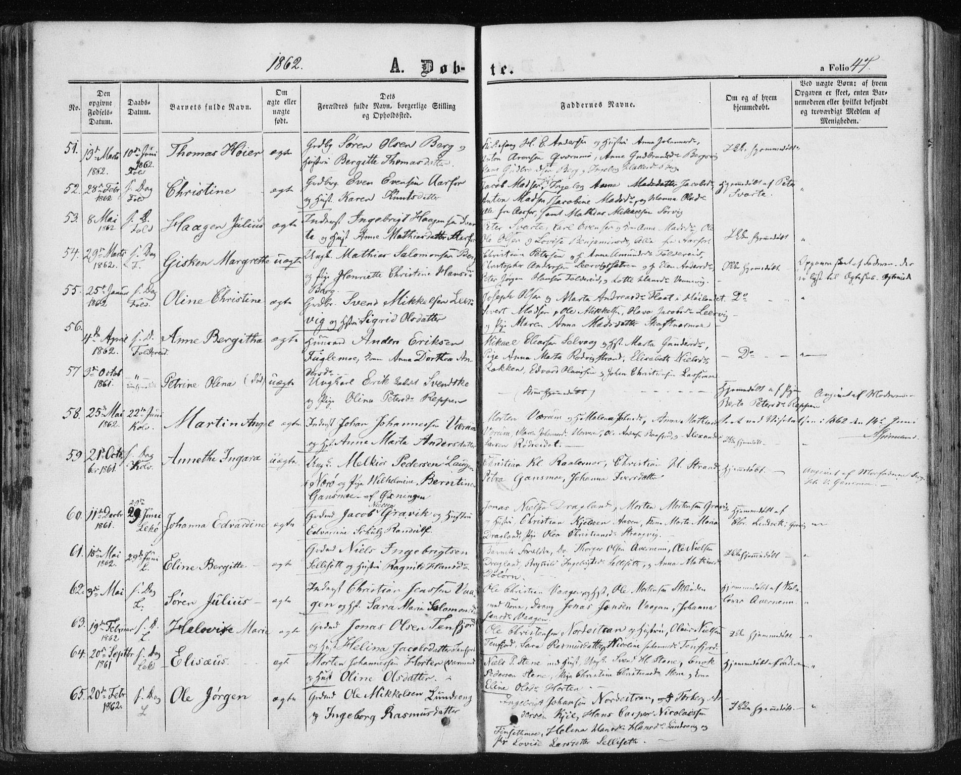 SAT, Ministerialprotokoller, klokkerbøker og fødselsregistre - Nord-Trøndelag, 780/L0641: Ministerialbok nr. 780A06, 1857-1874, s. 47