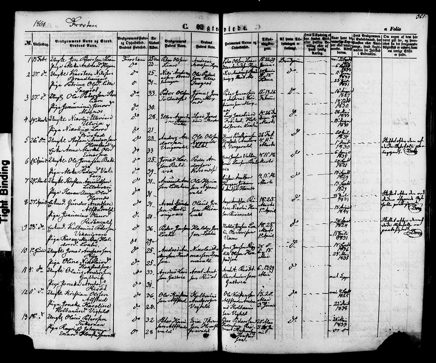 SAT, Ministerialprotokoller, klokkerbøker og fødselsregistre - Nord-Trøndelag, 713/L0116: Ministerialbok nr. 713A07 /1, 1850-1877, s. 361
