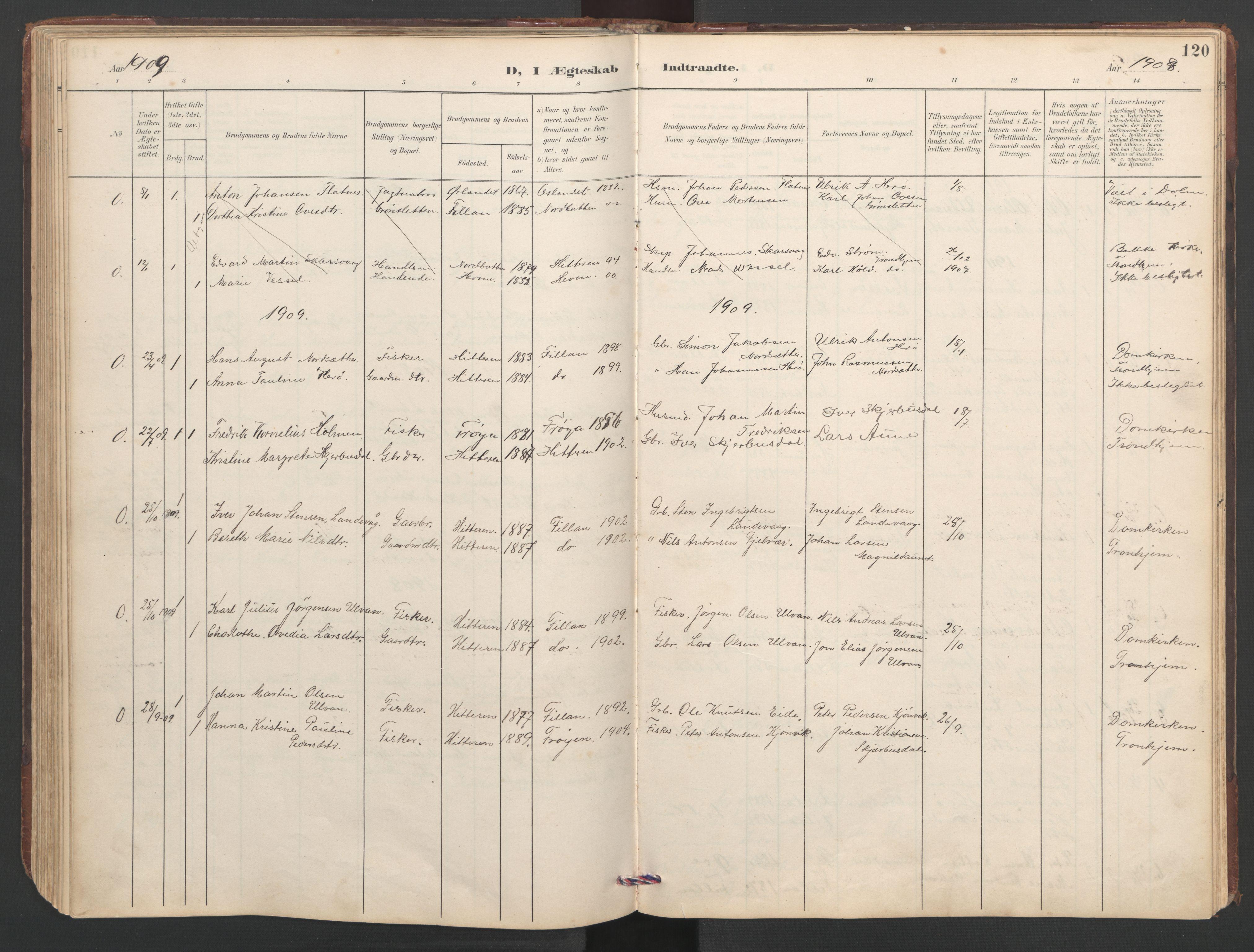 SAT, Ministerialprotokoller, klokkerbøker og fødselsregistre - Sør-Trøndelag, 638/L0571: Klokkerbok nr. 638C03, 1901-1930, s. 120
