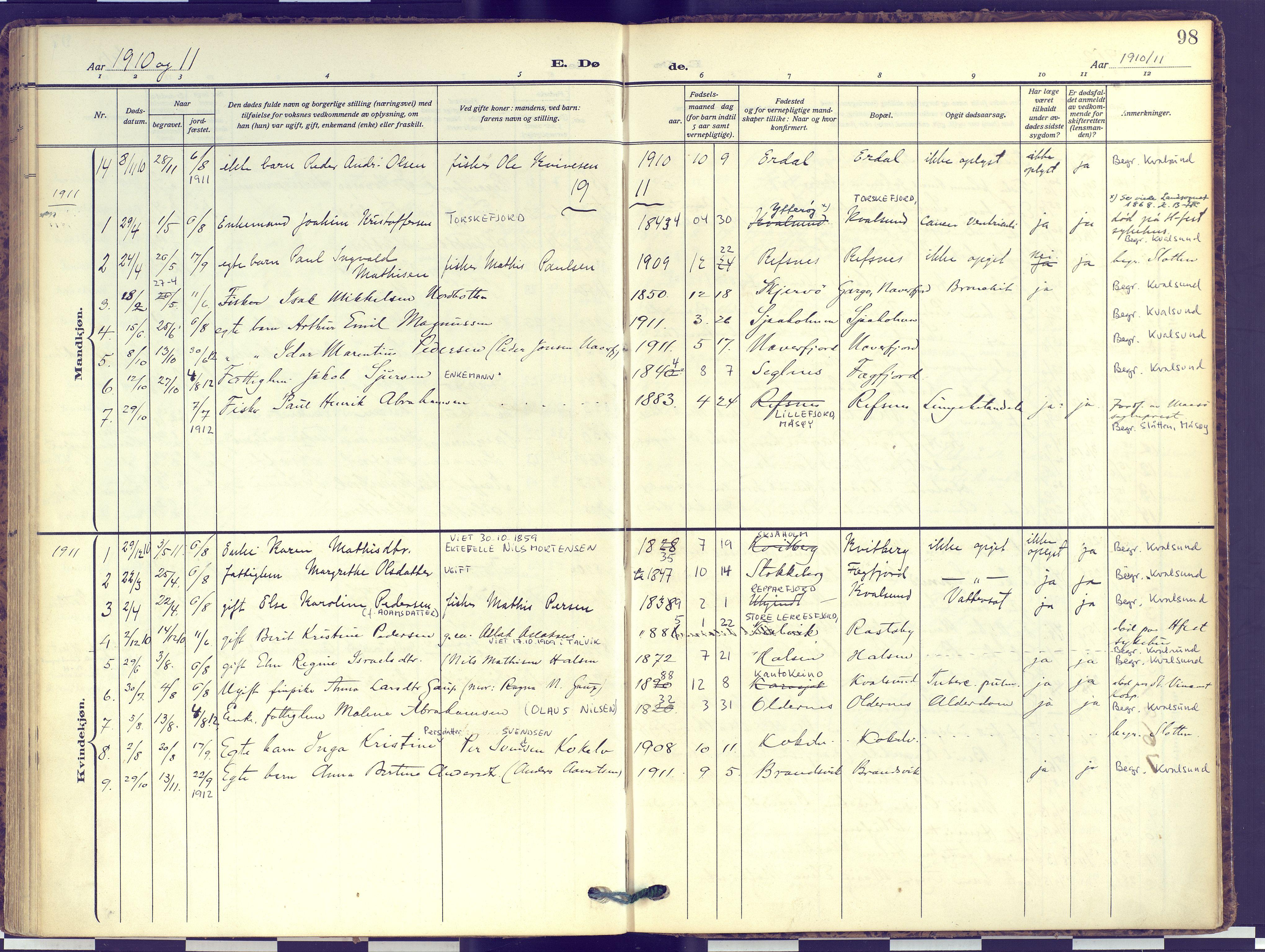 SATØ, Hammerfest sokneprestembete, Ministerialbok nr. 16, 1908-1923, s. 98