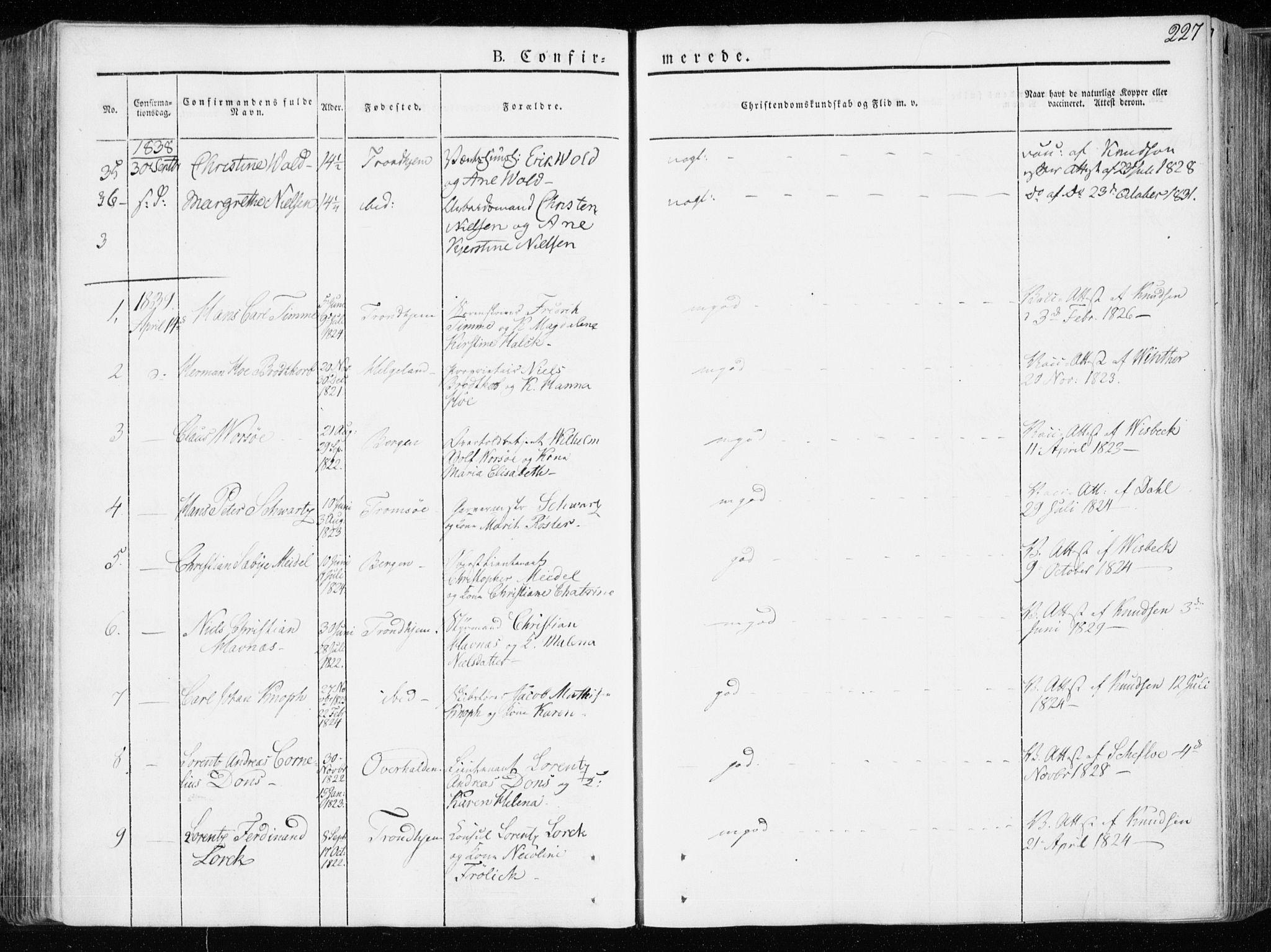 SAT, Ministerialprotokoller, klokkerbøker og fødselsregistre - Sør-Trøndelag, 601/L0047: Ministerialbok nr. 601A15, 1831-1839, s. 227