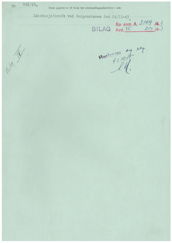 RA, Statspolitiet - Hovedkontoret / Osloavdelingen, D/Dc/Dca/L0076: SPA journalsaker jnr. 3090-3162, 1943-1945, s. 1