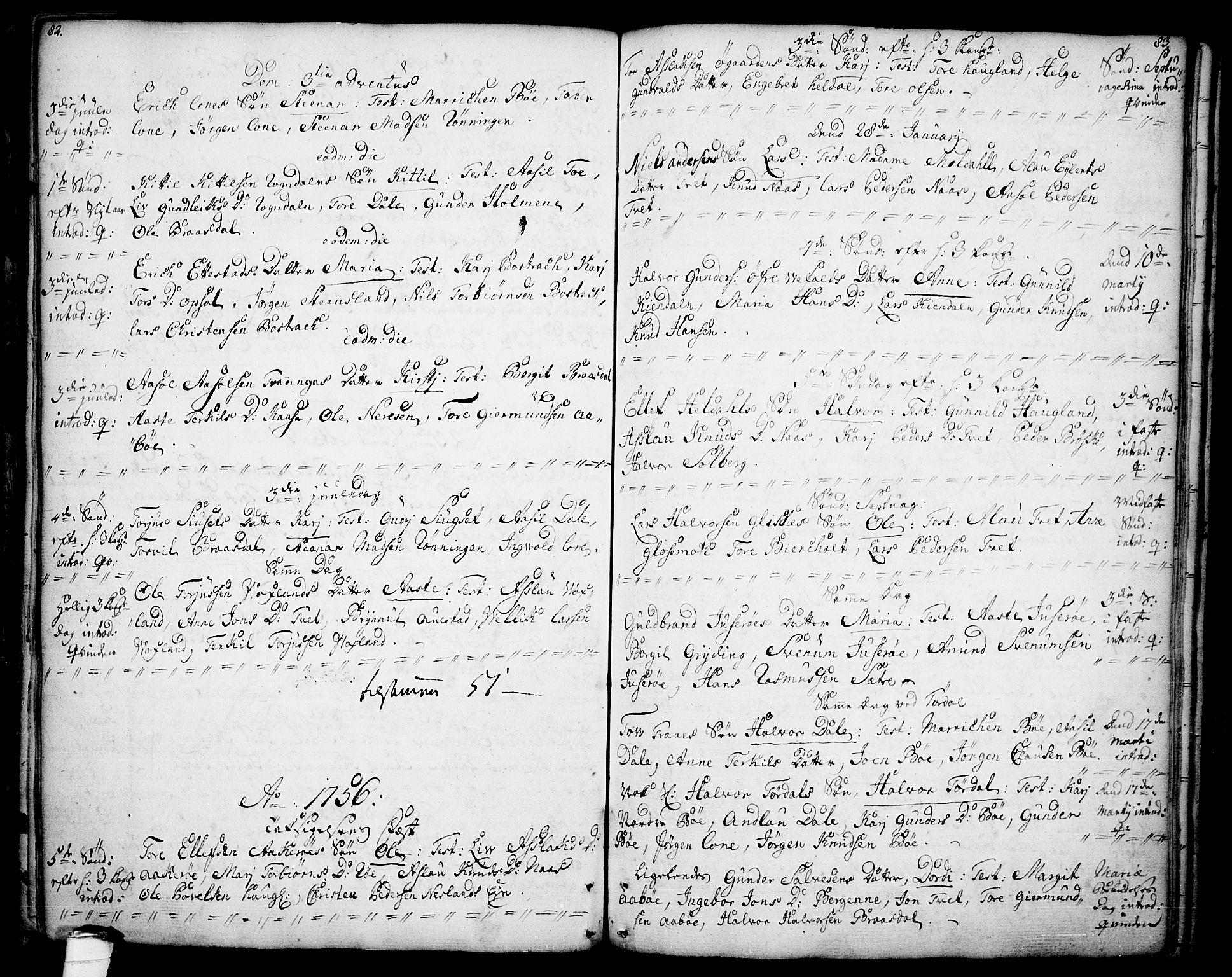 SAKO, Drangedal kirkebøker, F/Fa/L0001: Ministerialbok nr. 1, 1697-1767, s. 82-83