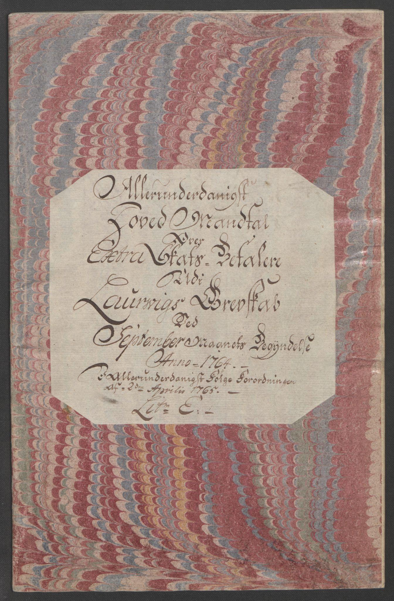 RA, Rentekammeret inntil 1814, Reviderte regnskaper, Fogderegnskap, R33/L2033: Ekstraskatten Larvik grevskap, 1762-1764, s. 548