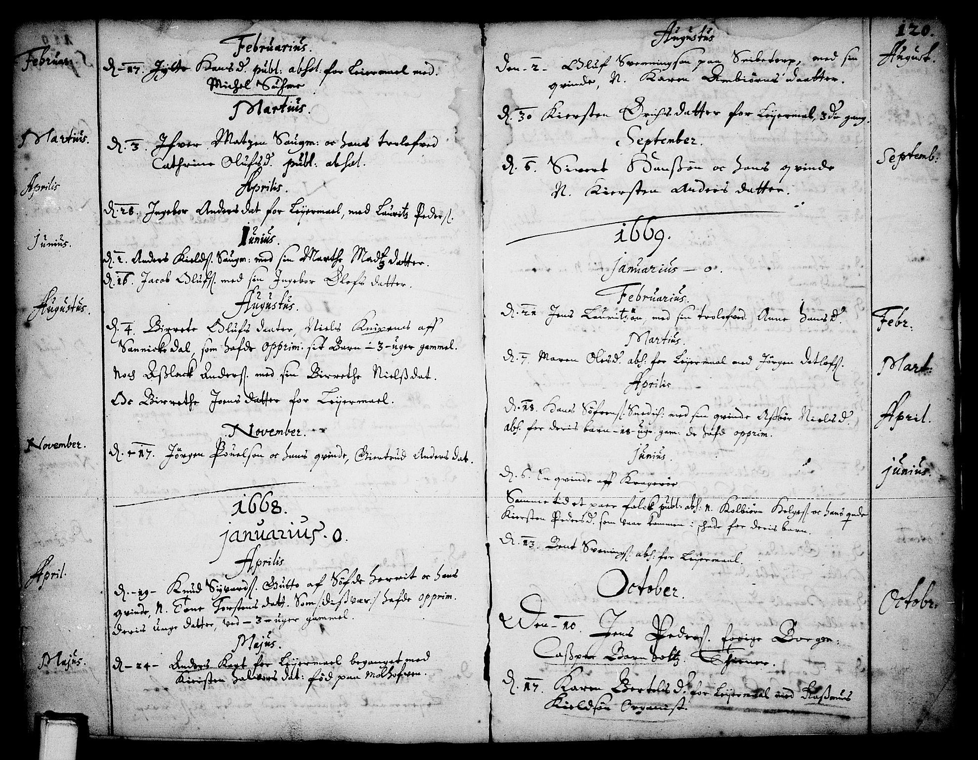 SAKO, Skien kirkebøker, F/Fa/L0001: Ministerialbok nr. 1, 1659-1679, s. 120