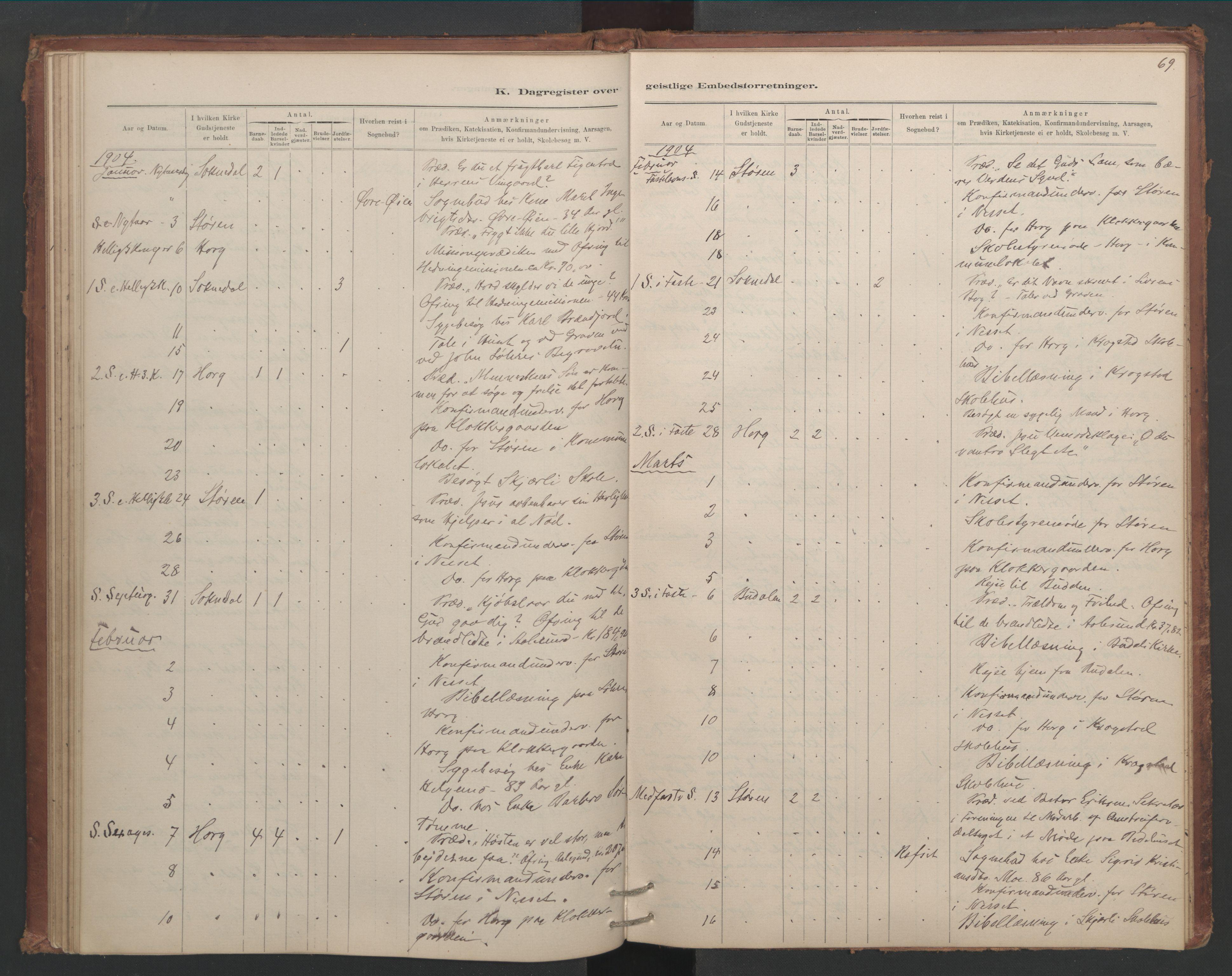 SAT, Ministerialprotokoller, klokkerbøker og fødselsregistre - Sør-Trøndelag, 687/L1012: Dagregister nr. 687B01, 1887-1914, s. 69