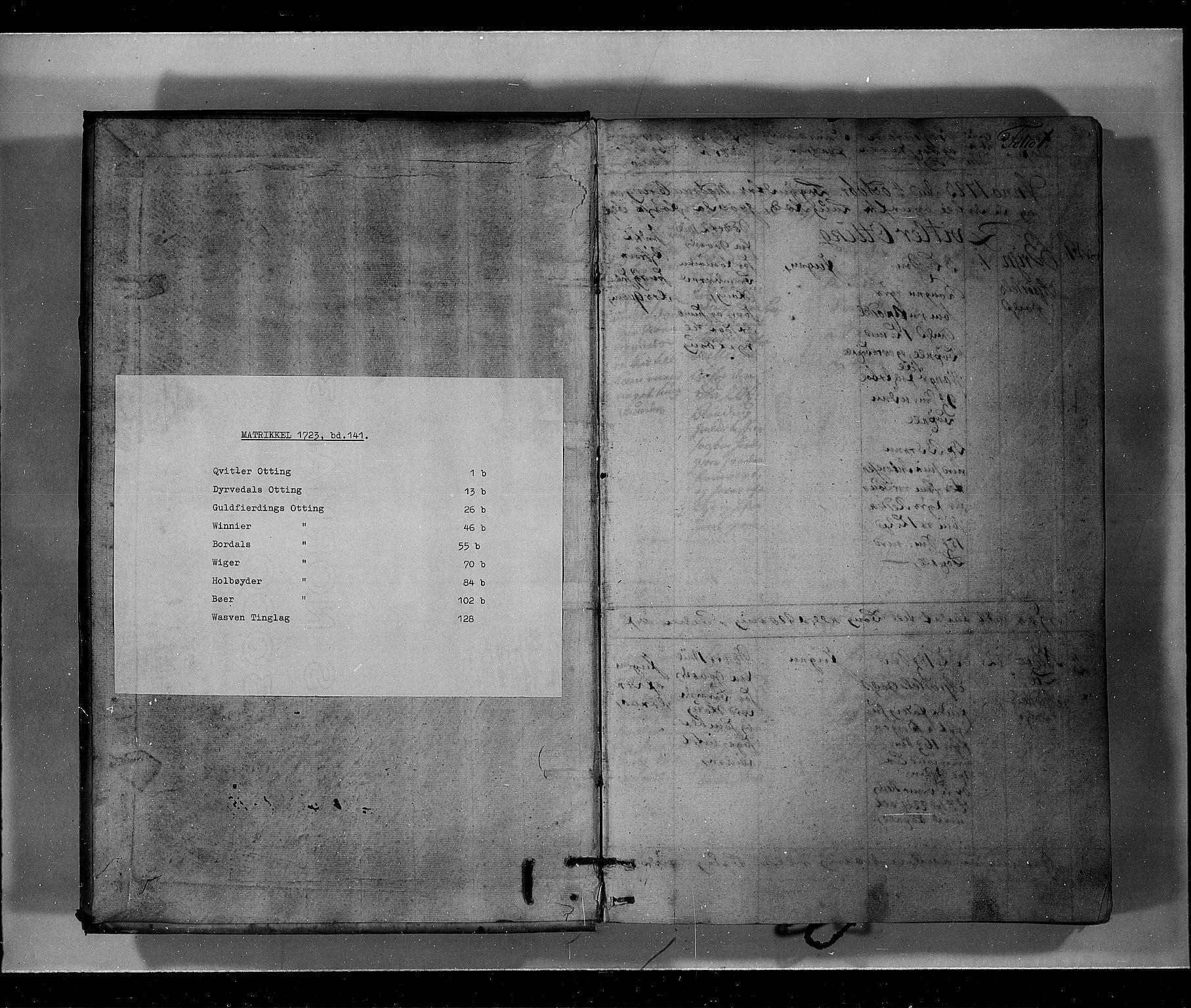 RA, Rentekammeret inntil 1814, Realistisk ordnet avdeling, N/Nb/Nbf/L0141: Voss eksaminasjonsprotokoll, 1723, s. upaginert