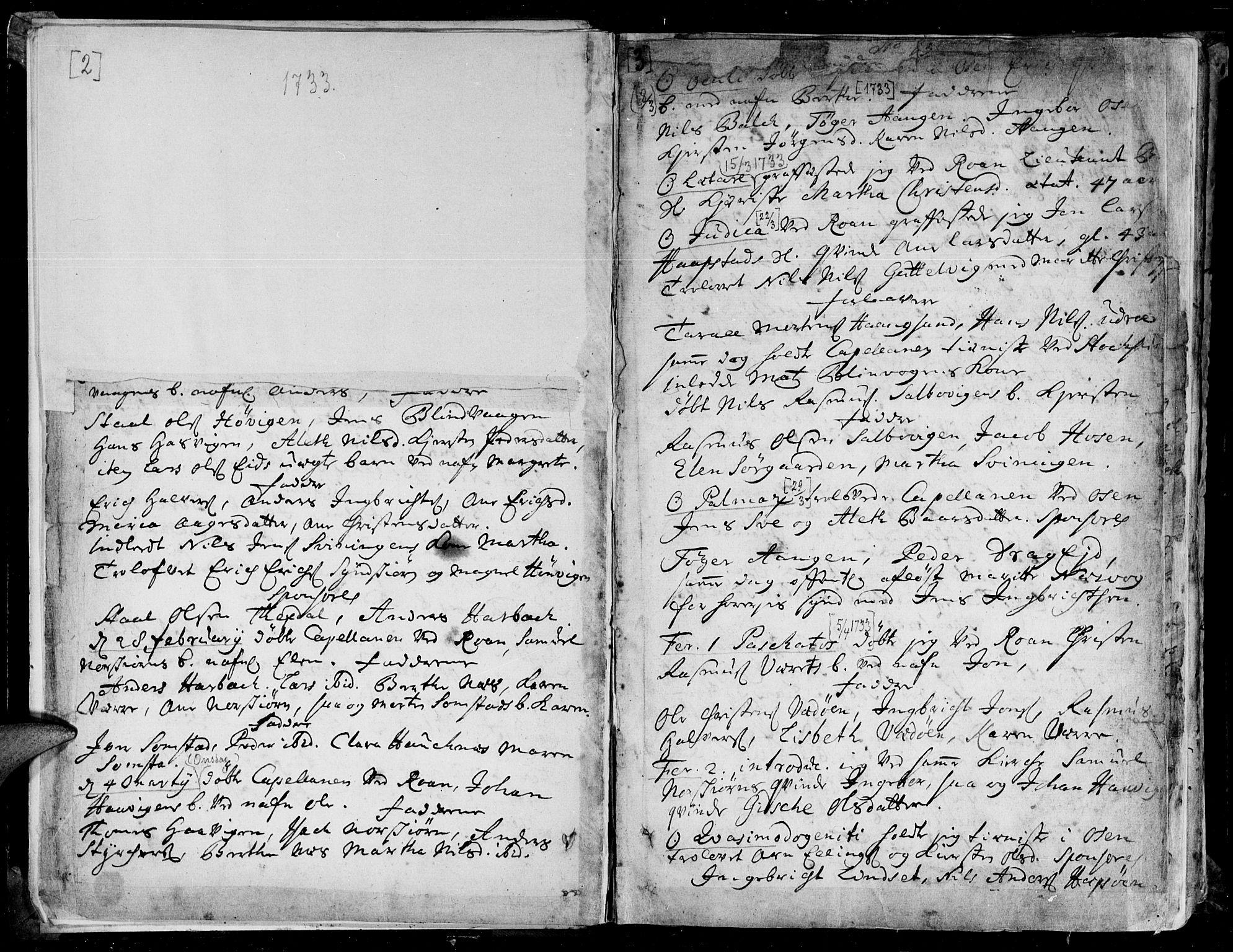 SAT, Ministerialprotokoller, klokkerbøker og fødselsregistre - Sør-Trøndelag, 657/L0700: Ministerialbok nr. 657A01, 1732-1801, s. 2-3