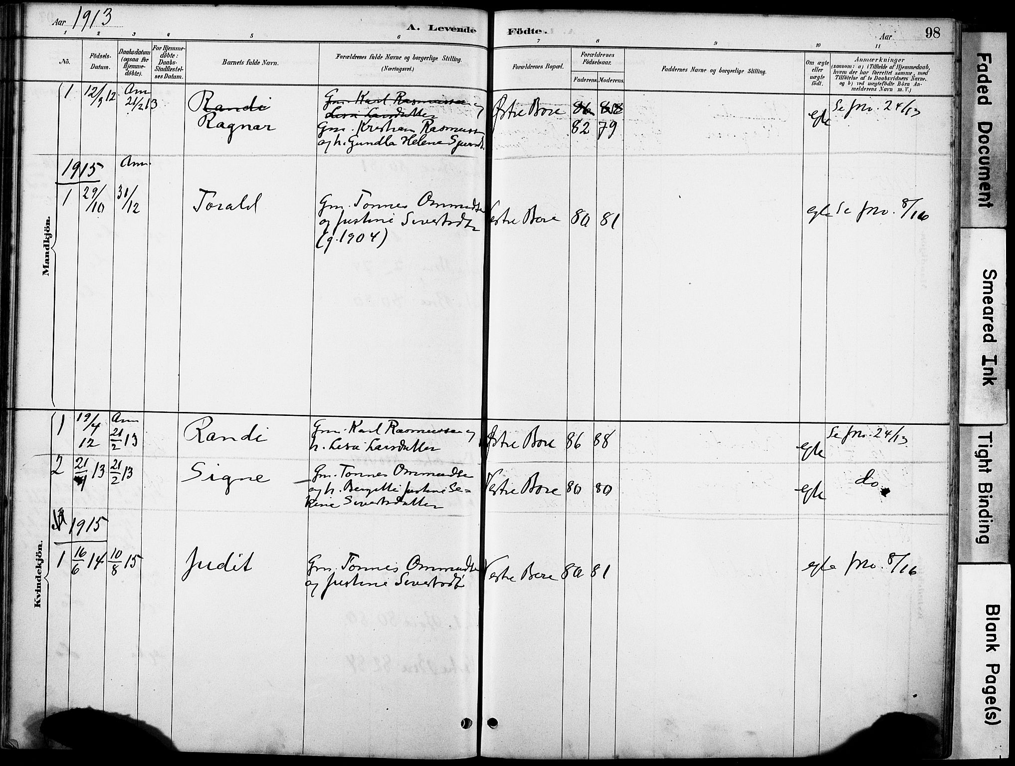 SAST, Klepp sokneprestkontor, 30BA/L0008: Ministerialbok nr. A 9, 1886-1919, s. 98