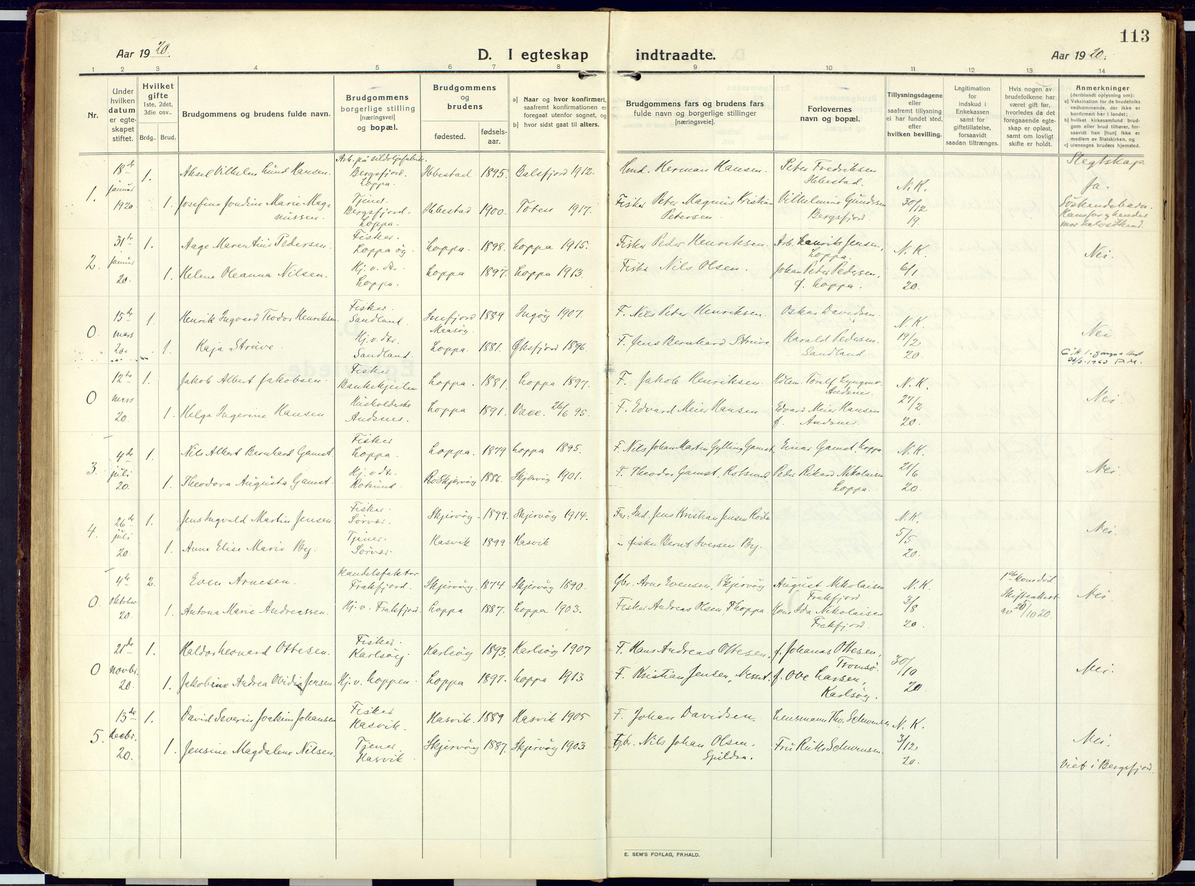 SATØ, Loppa sokneprestkontor, H/Ha/L0013kirke: Ministerialbok nr. 13, 1920-1932, s. 113