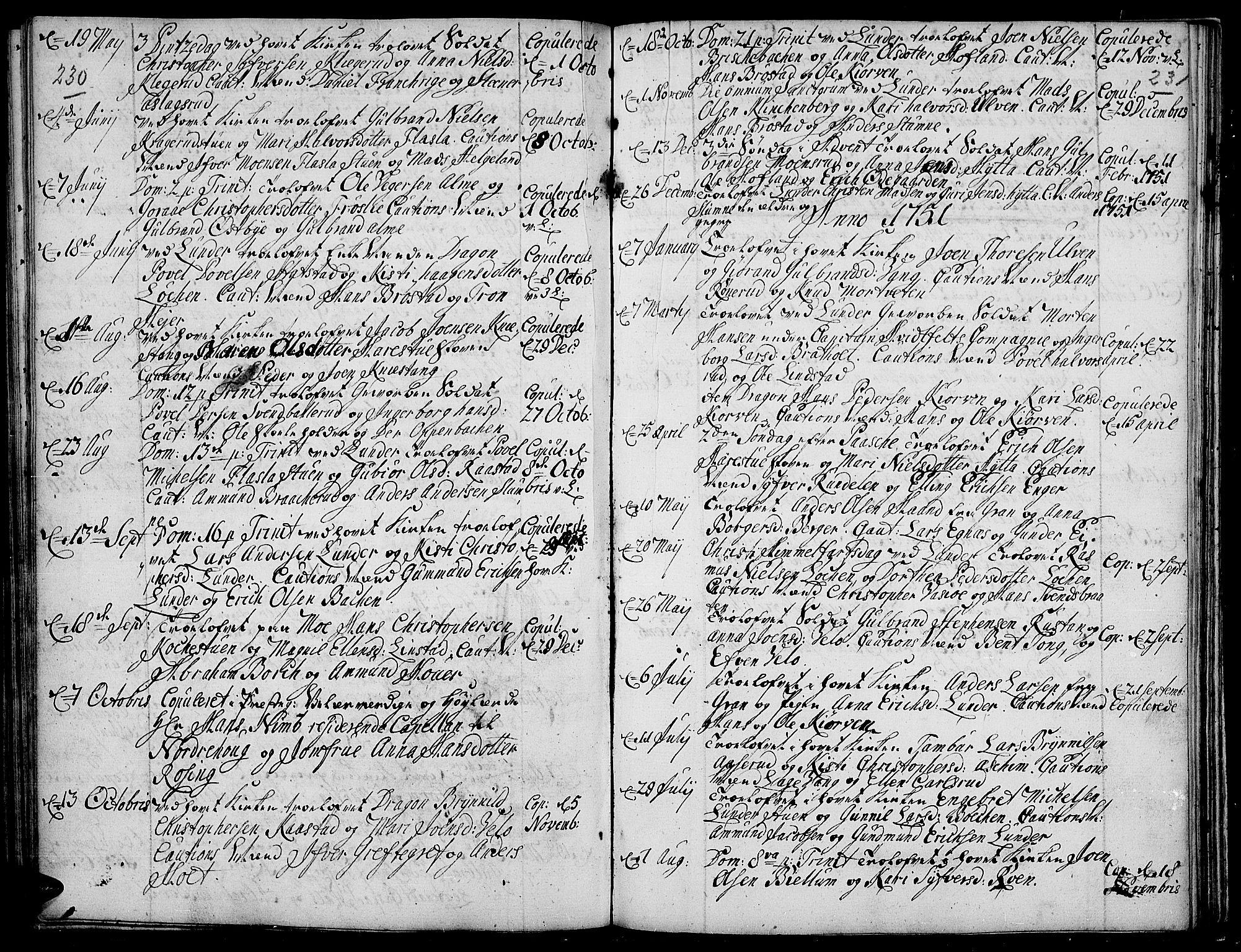 SAH, Jevnaker prestekontor, Ministerialbok nr. 2, 1725-1751, s. 230-231