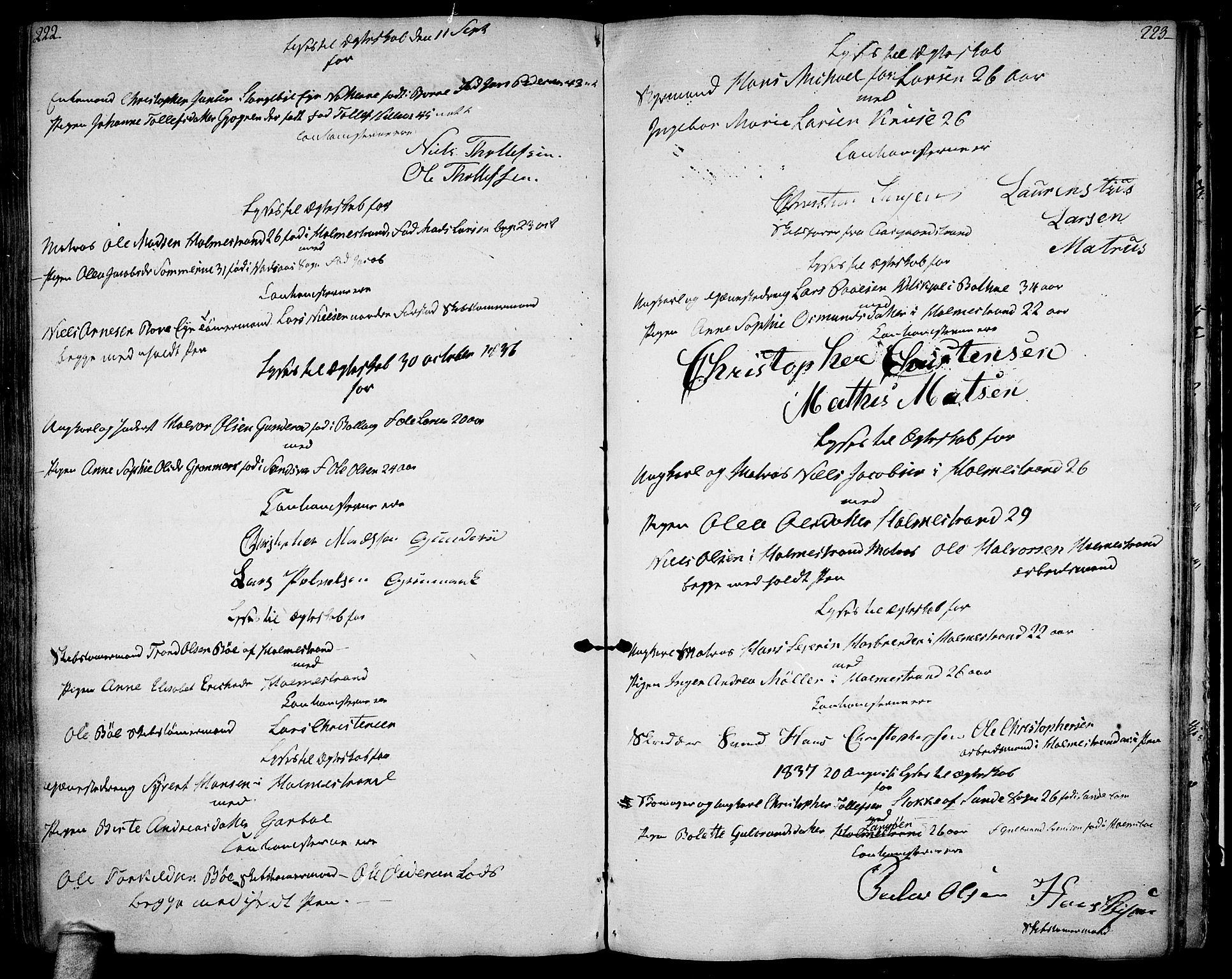 SAKO, Botne kirkebøker, F/Fa/L0003: Ministerialbok nr. I 3 /1, 1792-1844, s. 222-223