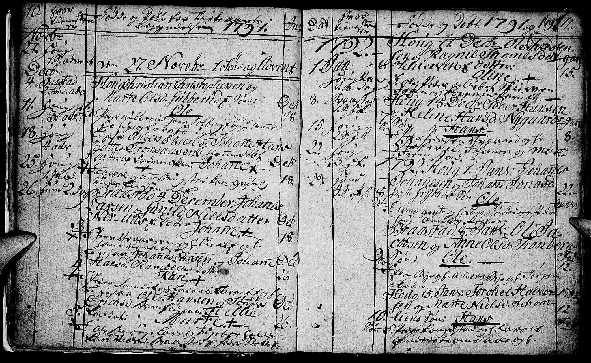 SAH, Vardal prestekontor, H/Ha/Hab/L0002: Klokkerbok nr. 2, 1790-1803, s. 10-11