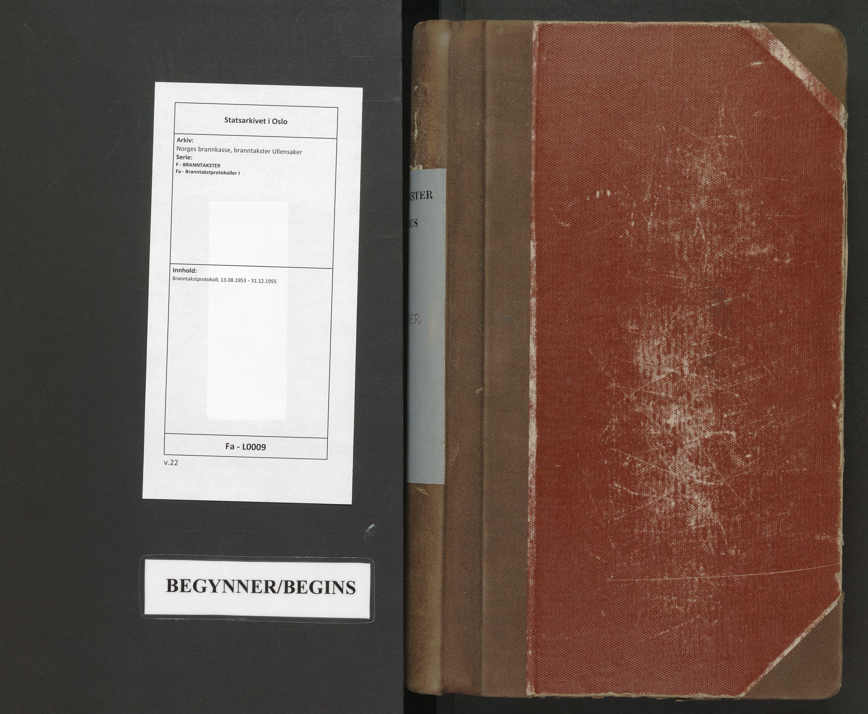 SAO, Norges brannkasse, branntakster Ullensaker, F/Fa/L0009: Branntakstprotokoll, 1953-1955