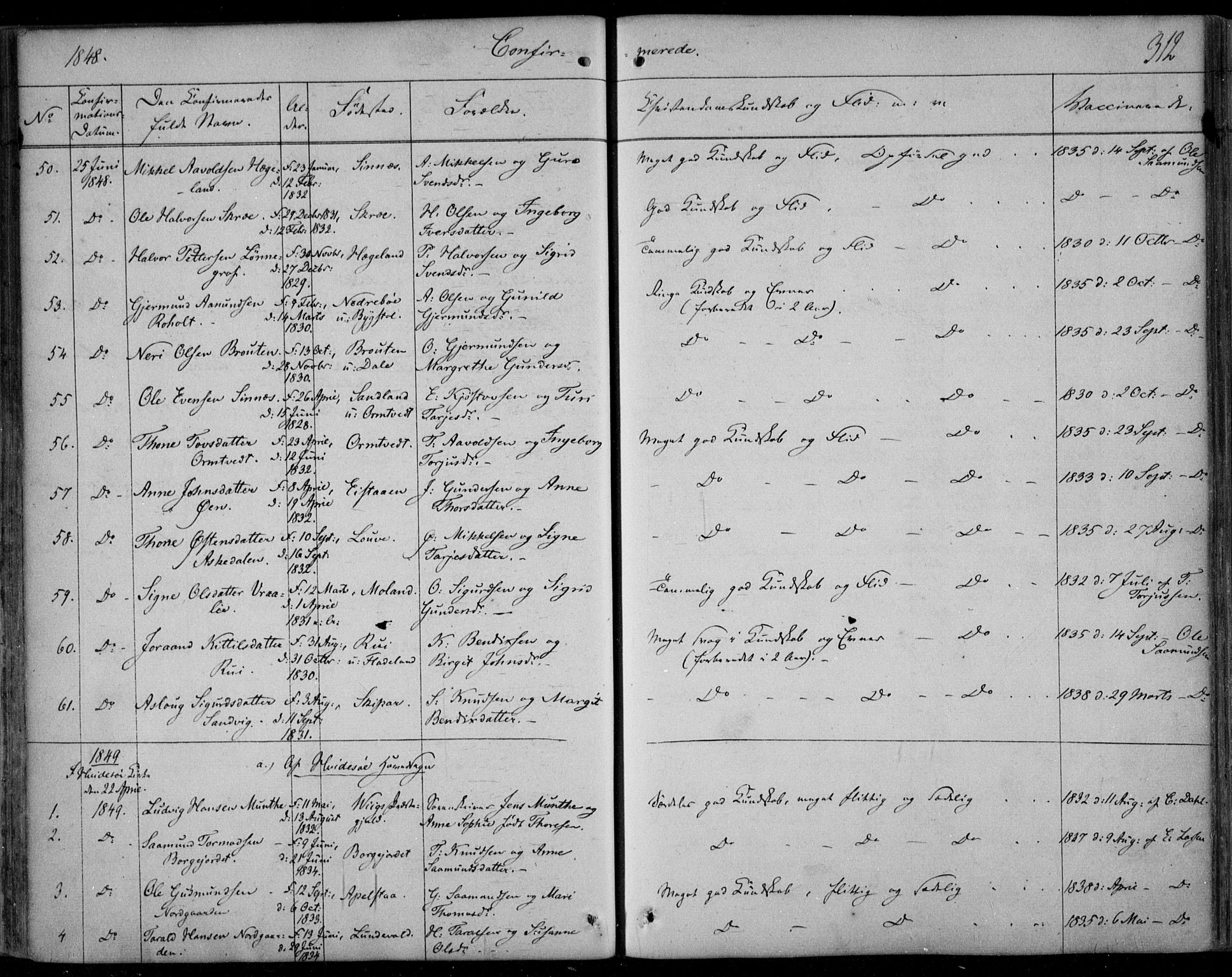 SAKO, Kviteseid kirkebøker, F/Fa/L0006: Ministerialbok nr. I 6, 1836-1858, s. 312
