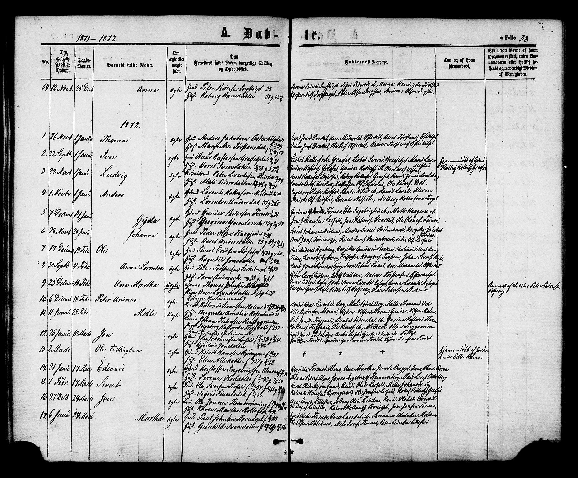 SAT, Ministerialprotokoller, klokkerbøker og fødselsregistre - Nord-Trøndelag, 703/L0029: Ministerialbok nr. 703A02, 1863-1879, s. 38