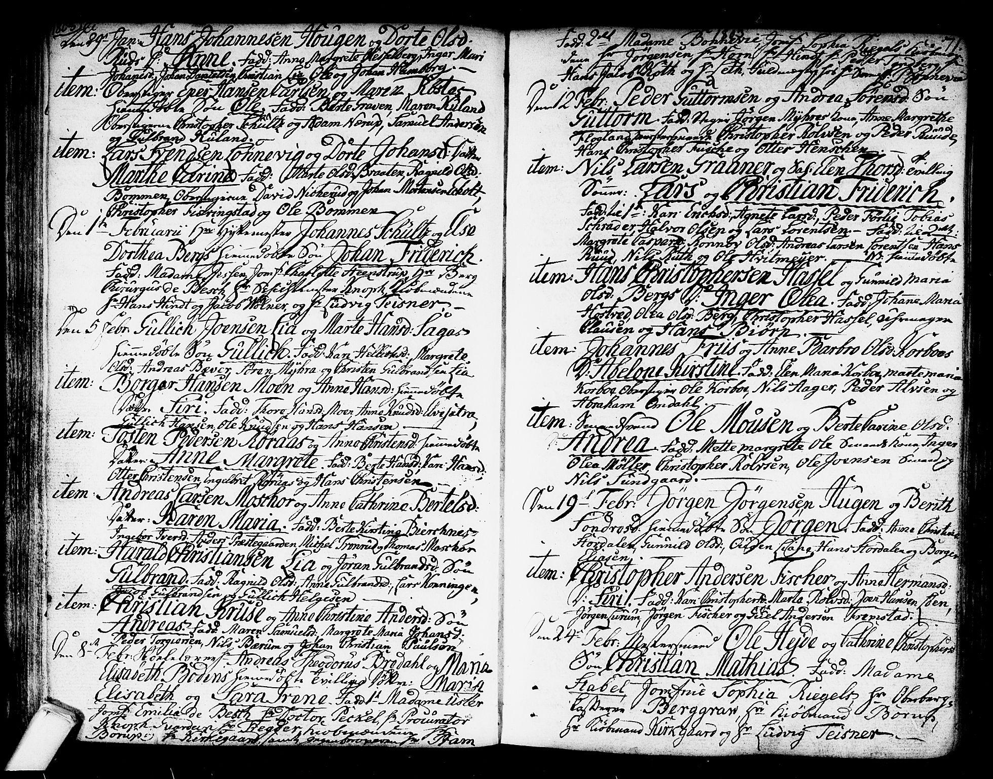 SAKO, Kongsberg kirkebøker, F/Fa/L0007: Ministerialbok nr. I 7, 1795-1816, s. 71
