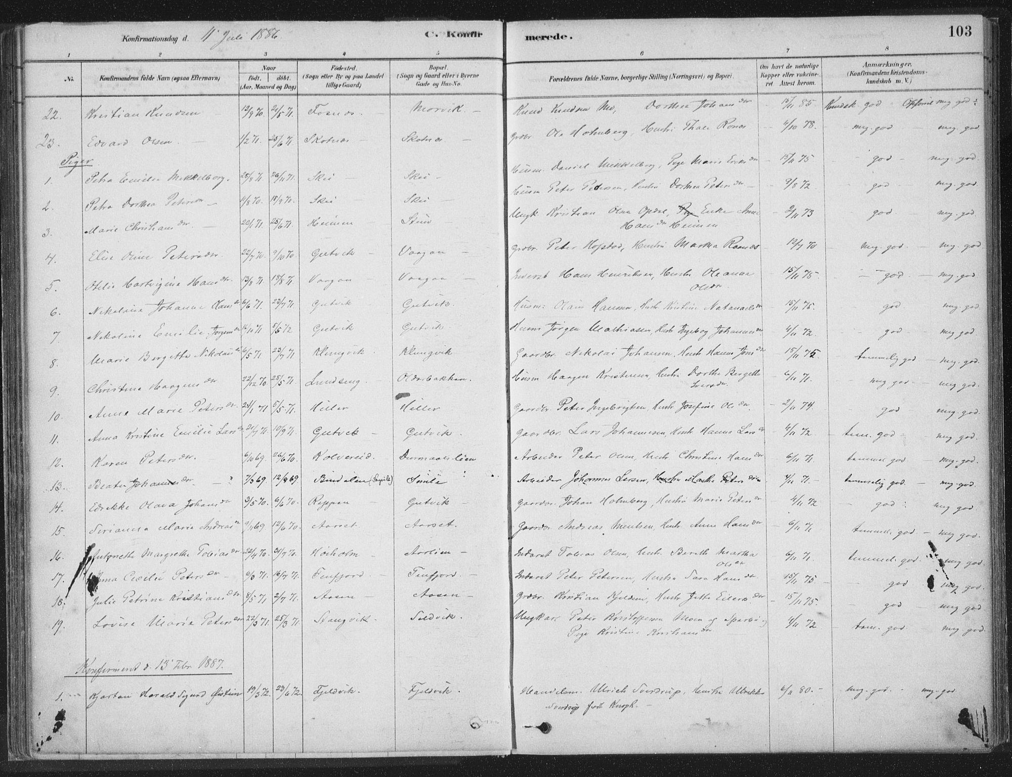 SAT, Ministerialprotokoller, klokkerbøker og fødselsregistre - Nord-Trøndelag, 788/L0697: Ministerialbok nr. 788A04, 1878-1902, s. 103