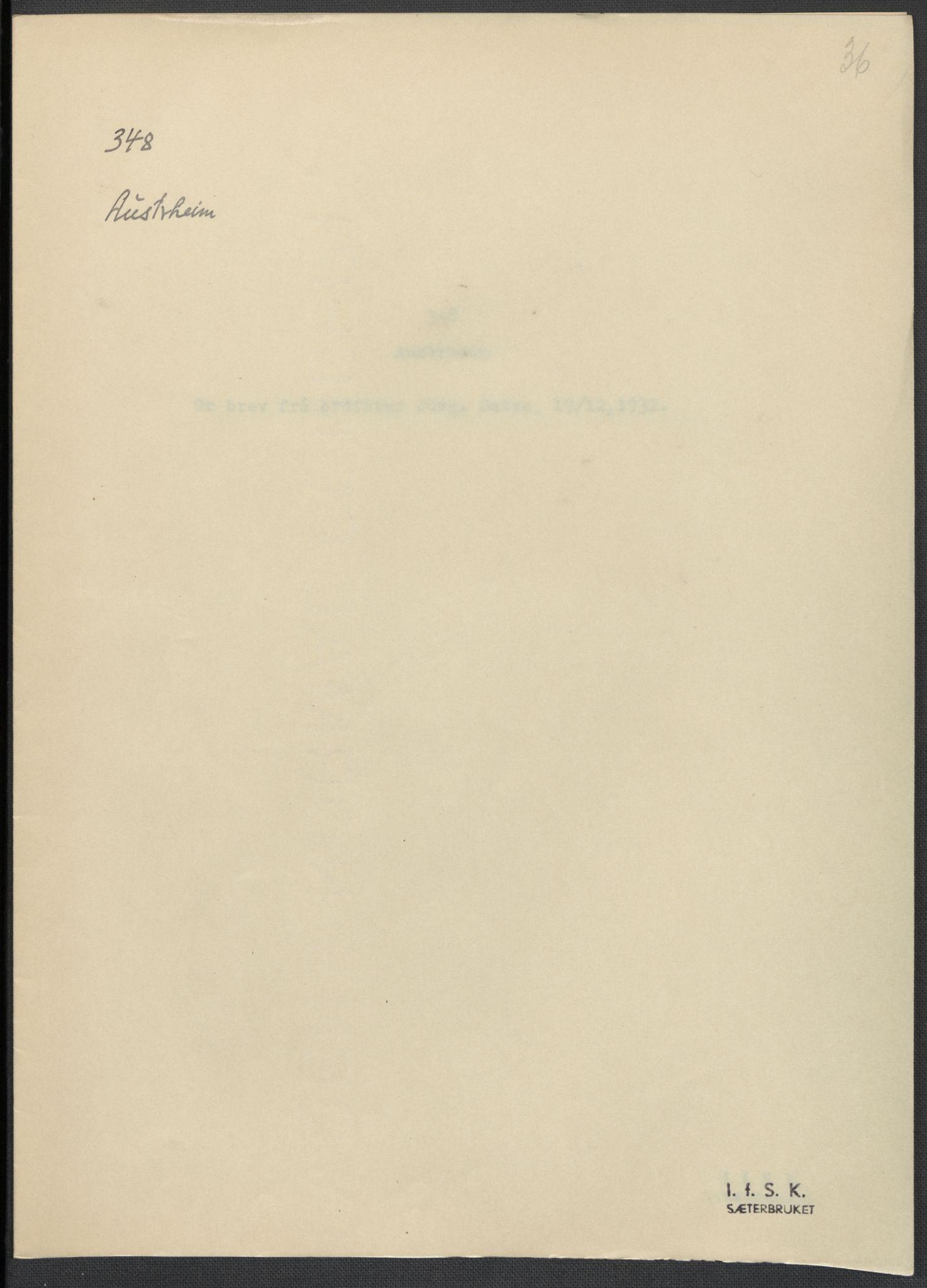 RA, Instituttet for sammenlignende kulturforskning, F/Fc/L0010: Eske B10:, 1932-1935, s. 36