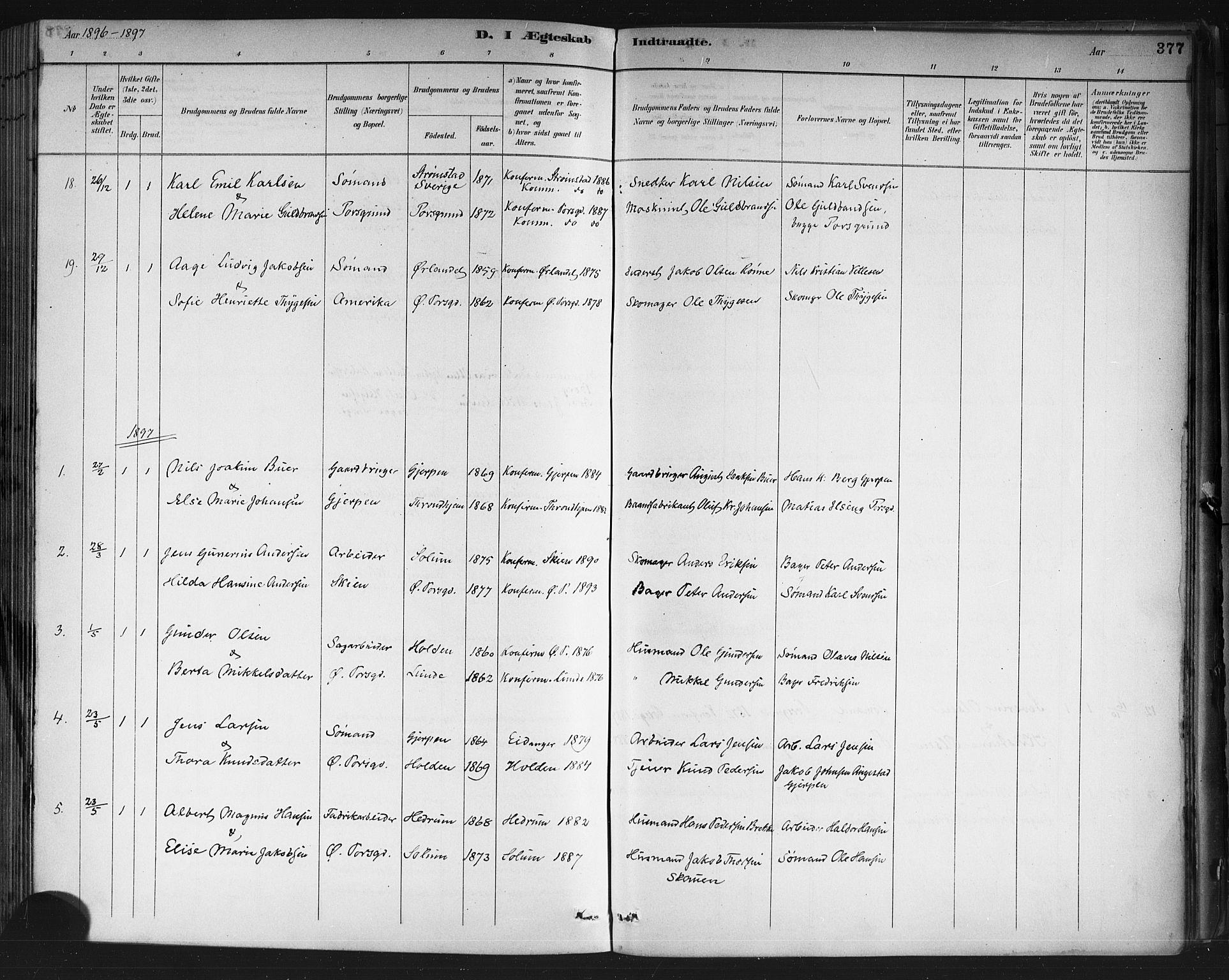 SAKO, Porsgrunn kirkebøker , G/Gb/L0005: Klokkerbok nr. II 5, 1883-1915, s. 377