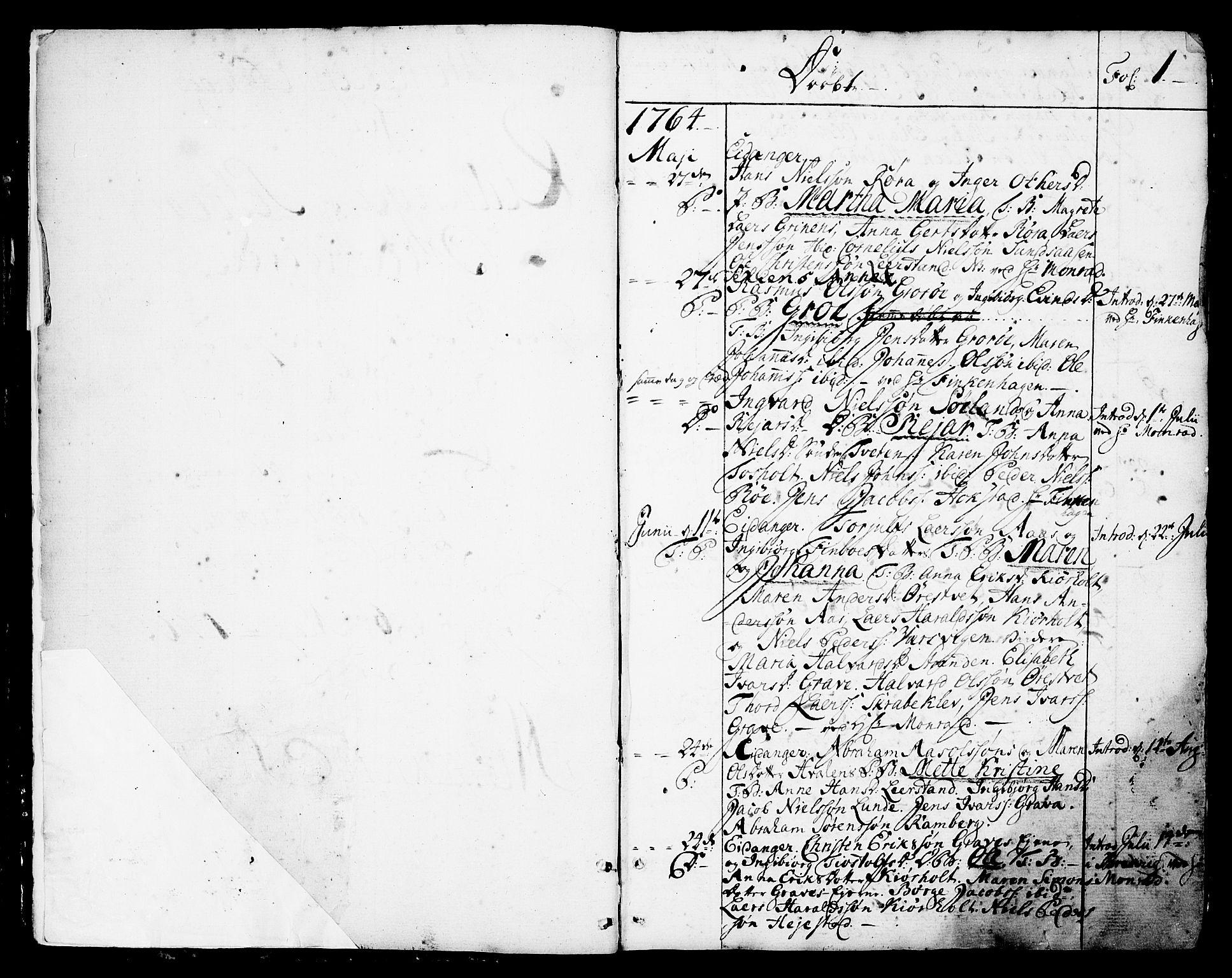 SAKO, Eidanger kirkebøker, F/Fa/L0006: Ministerialbok nr. 6, 1764-1814, s. 1