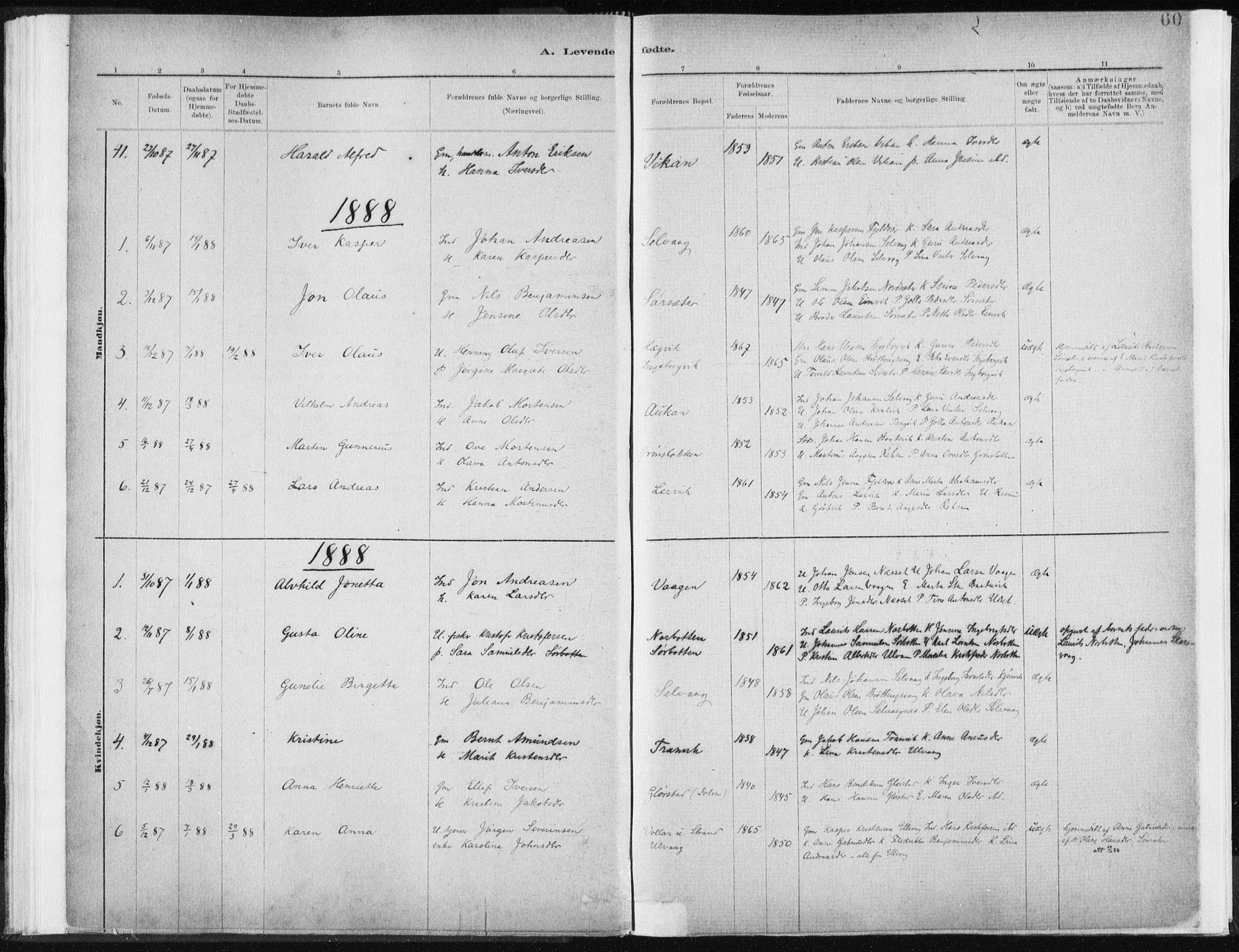 SAT, Ministerialprotokoller, klokkerbøker og fødselsregistre - Sør-Trøndelag, 637/L0558: Ministerialbok nr. 637A01, 1882-1899, s. 60