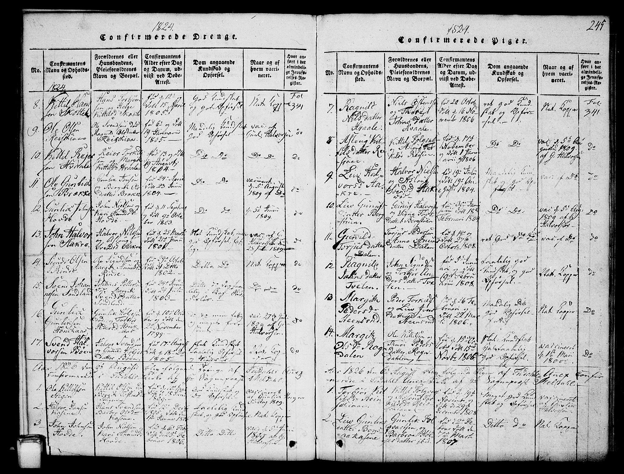 SAKO, Hjartdal kirkebøker, G/Gc/L0001: Klokkerbok nr. III 1, 1815-1842, s. 245
