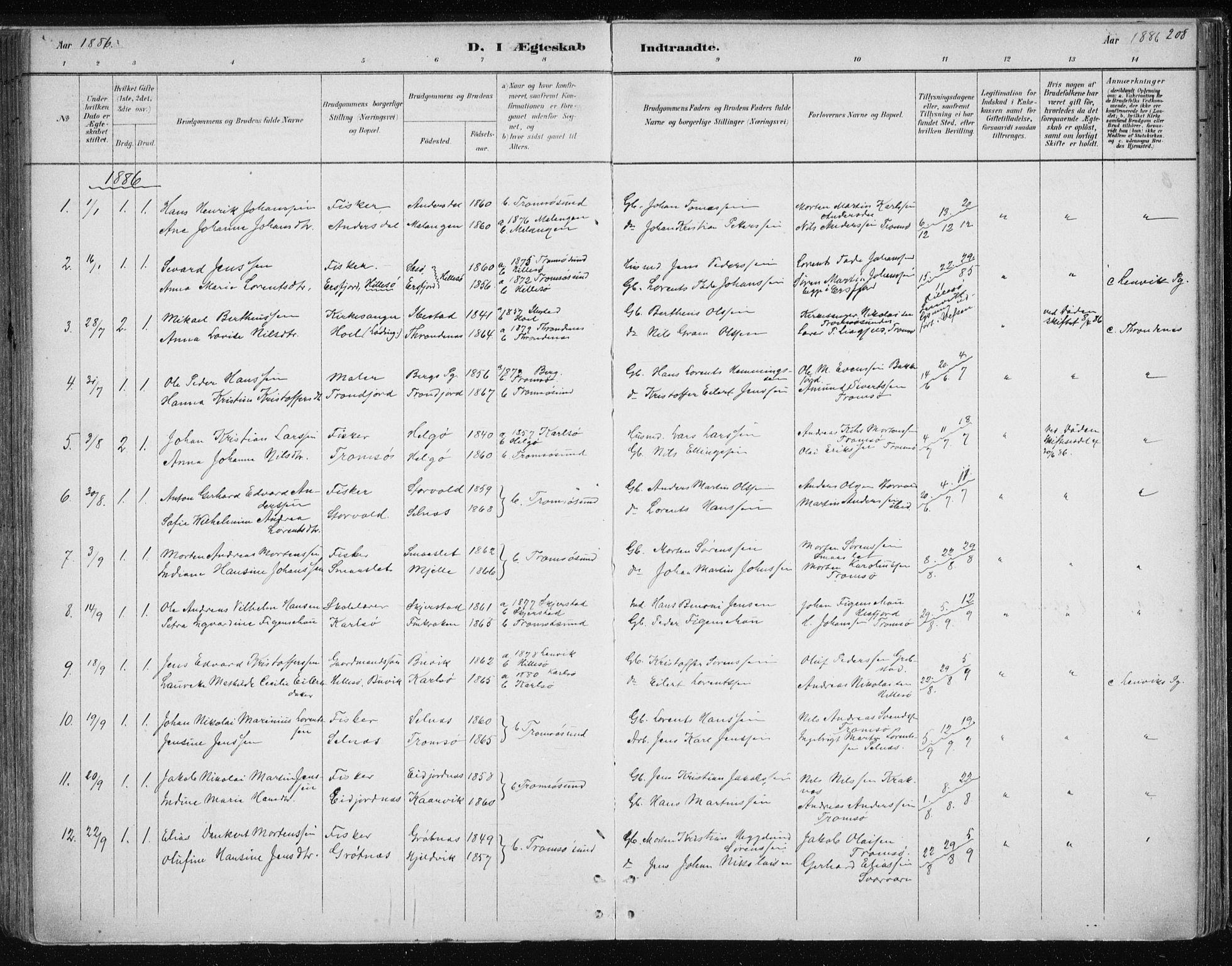 SATØ, Tromsøysund sokneprestkontor, G/Ga/L0004kirke: Ministerialbok nr. 4, 1880-1888, s. 208