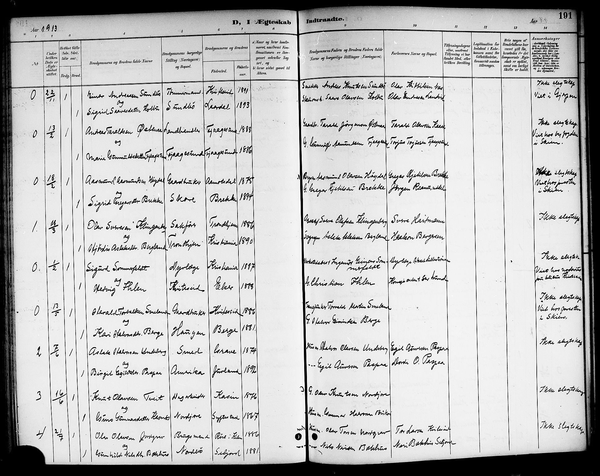 SAKO, Kviteseid kirkebøker, G/Ga/L0002: Klokkerbok nr. I 2, 1893-1918, s. 191