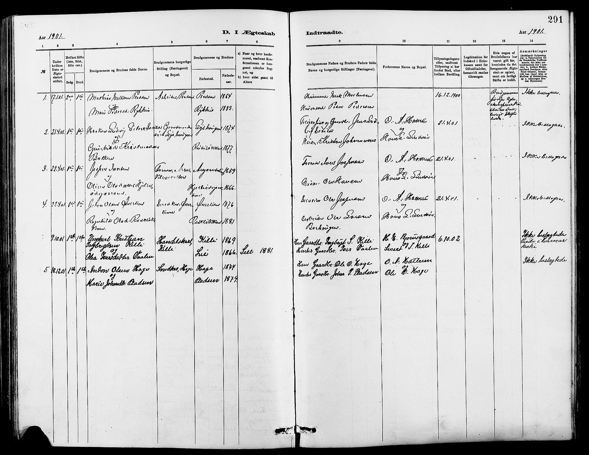 SAH, Dovre prestekontor, Klokkerbok nr. 2, 1881-1907, s. 291