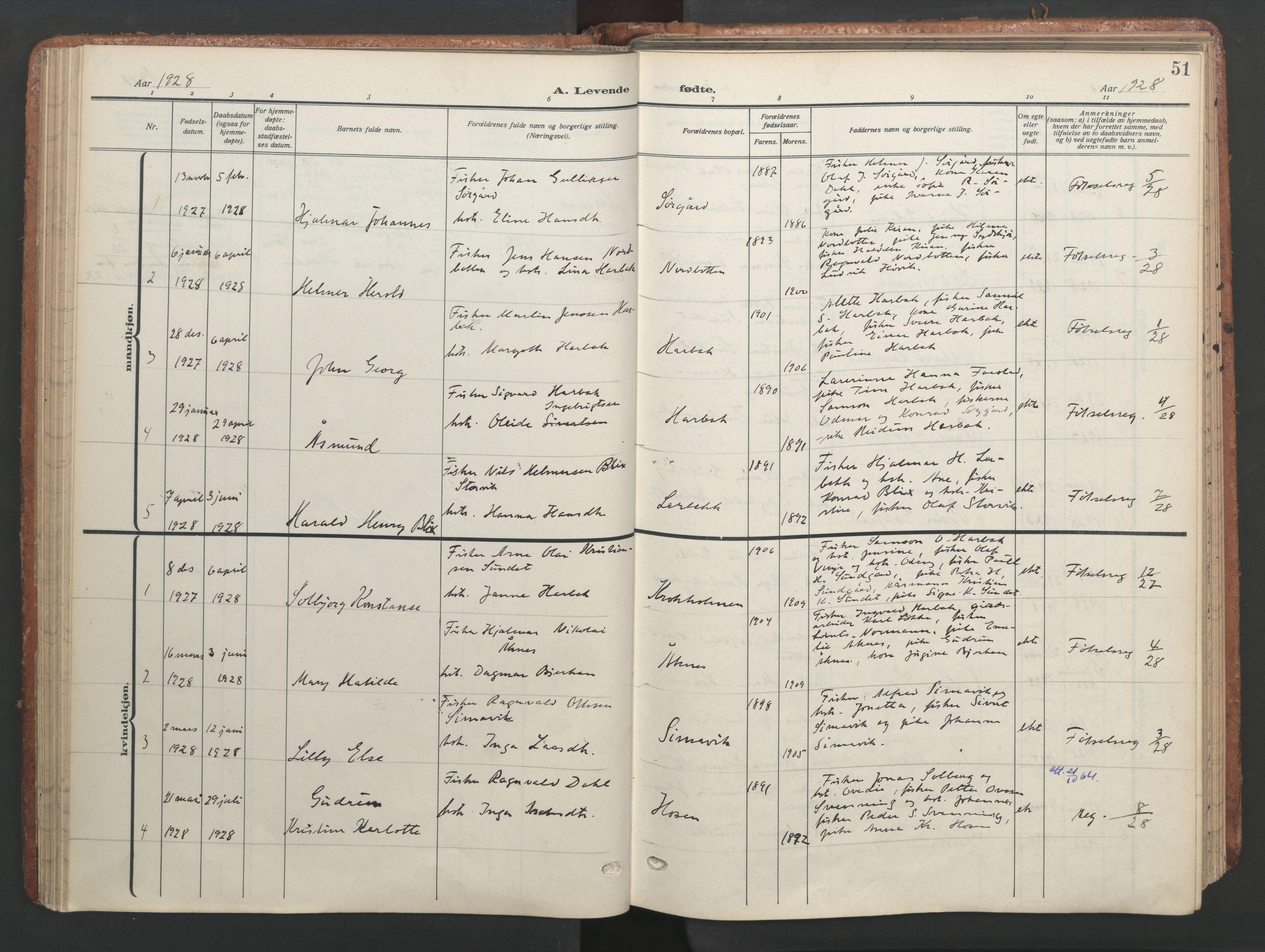 SAT, Ministerialprotokoller, klokkerbøker og fødselsregistre - Sør-Trøndelag, 656/L0694: Ministerialbok nr. 656A03, 1914-1931, s. 51