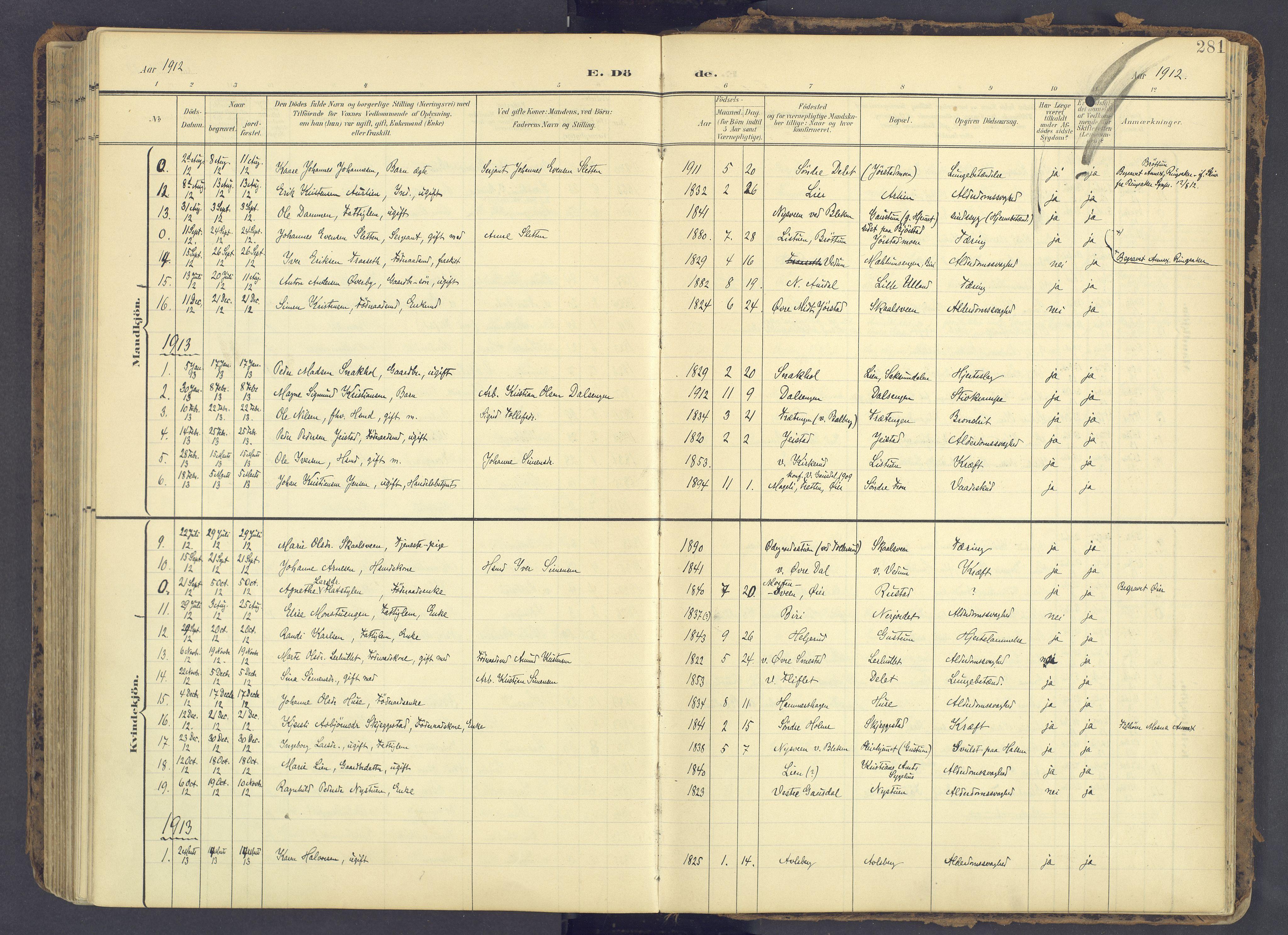 SAH, Fåberg prestekontor, Ministerialbok nr. 12, 1899-1915, s. 281