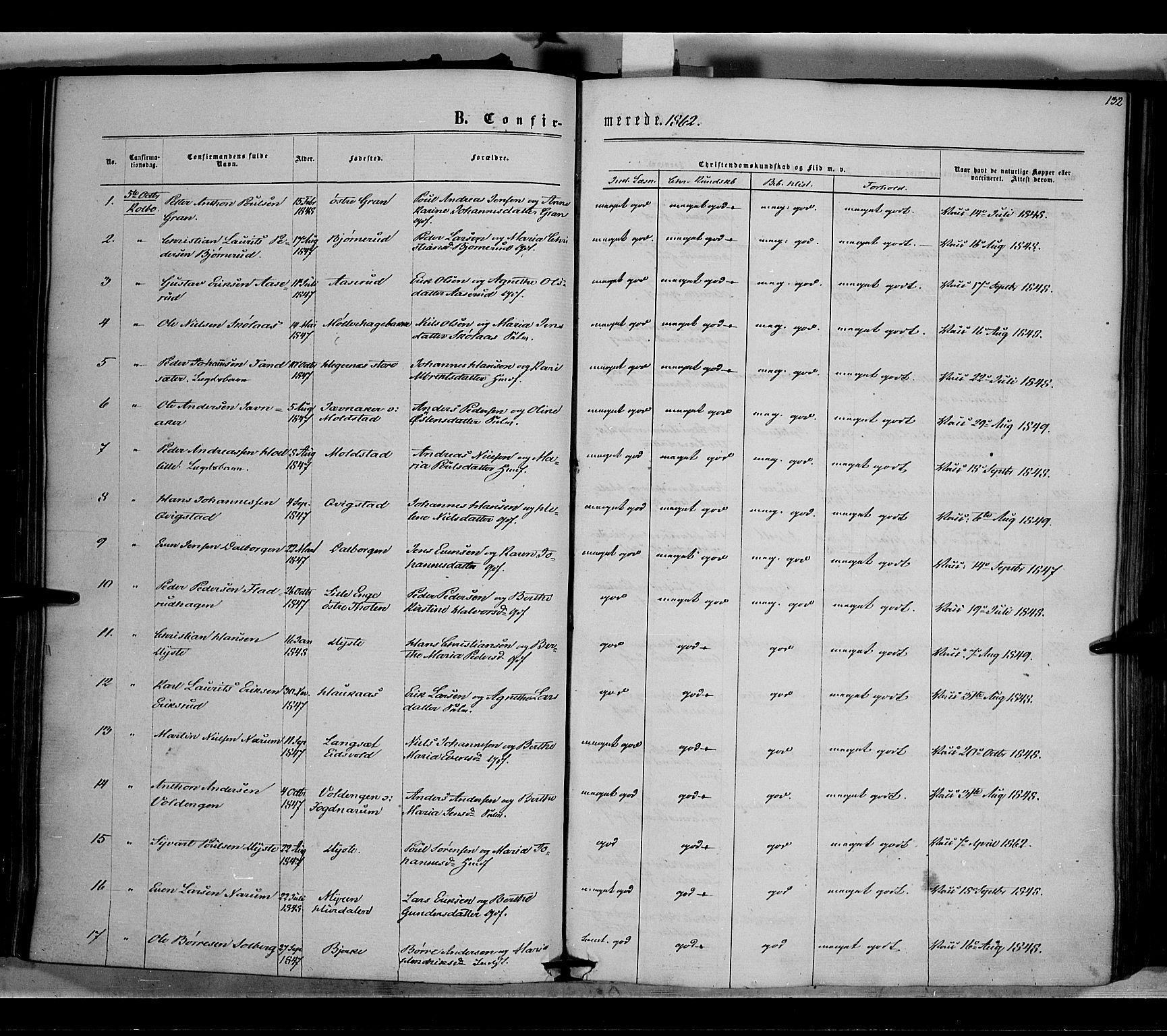 SAH, Vestre Toten prestekontor, H/Ha/Haa/L0007: Ministerialbok nr. 7, 1862-1869, s. 132