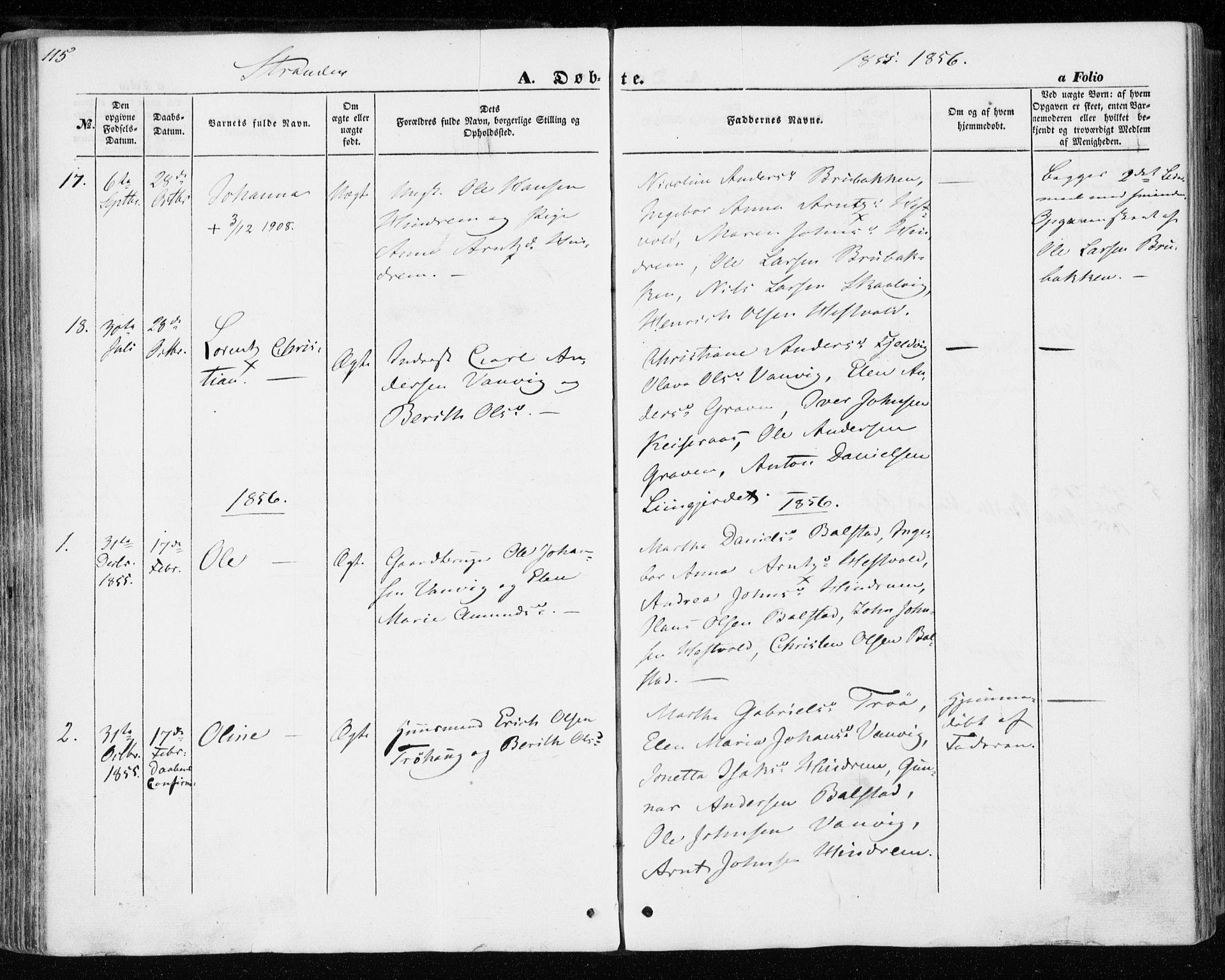SAT, Ministerialprotokoller, klokkerbøker og fødselsregistre - Nord-Trøndelag, 701/L0008: Ministerialbok nr. 701A08 /2, 1854-1863, s. 115