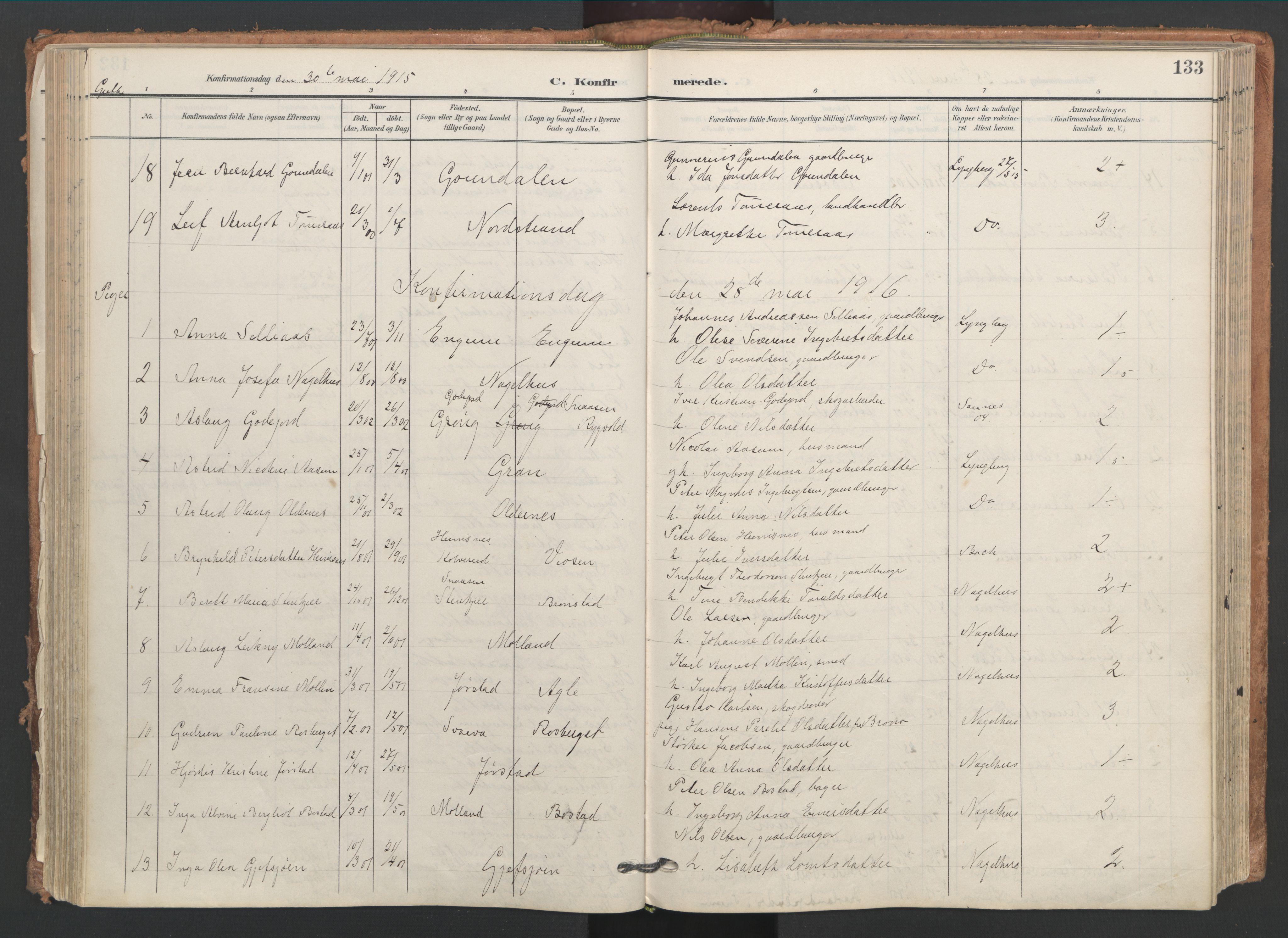 SAT, Ministerialprotokoller, klokkerbøker og fødselsregistre - Nord-Trøndelag, 749/L0477: Ministerialbok nr. 749A11, 1902-1927, s. 133